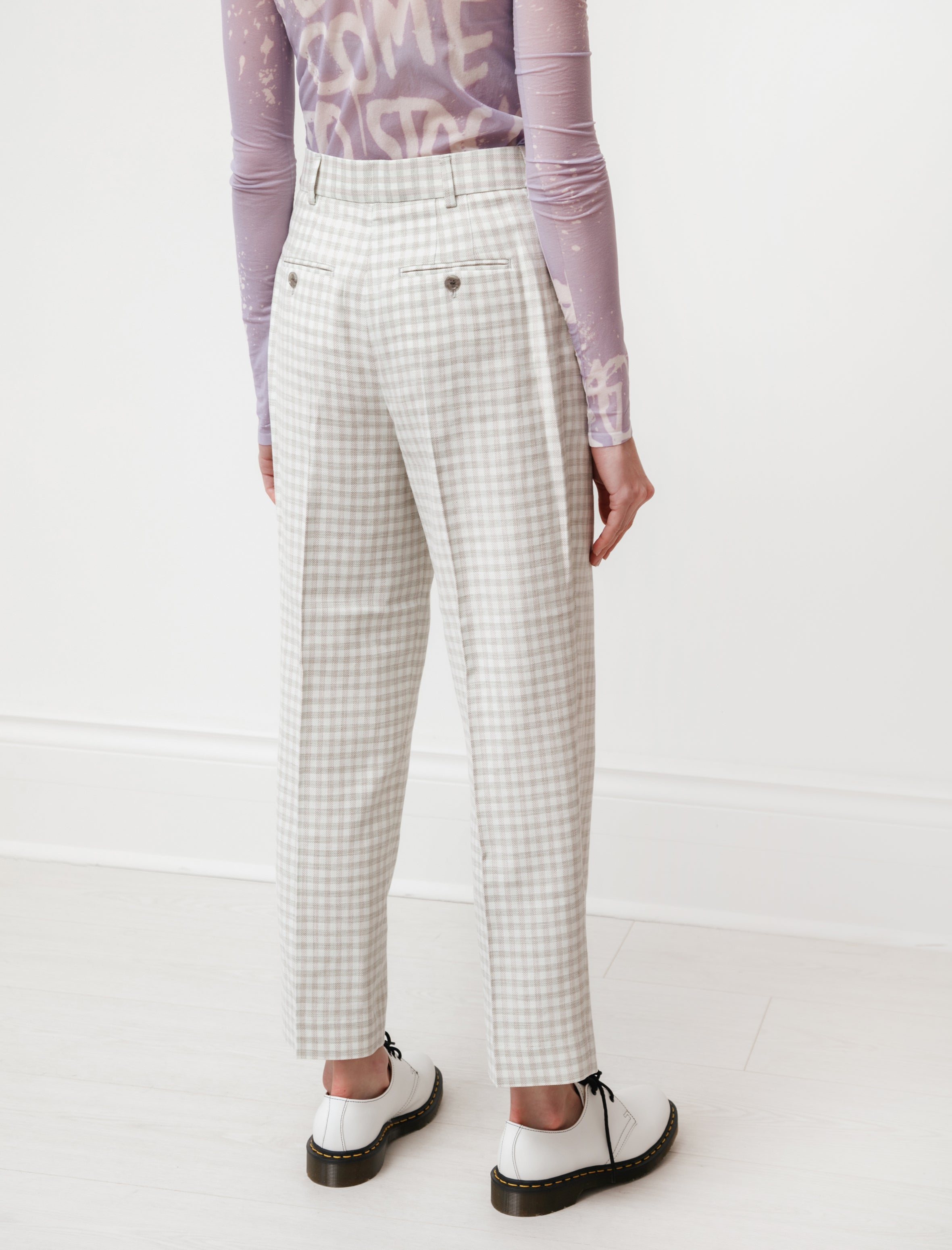 Acne Studios Loose Pleated Trousers Green/Grey Plaid