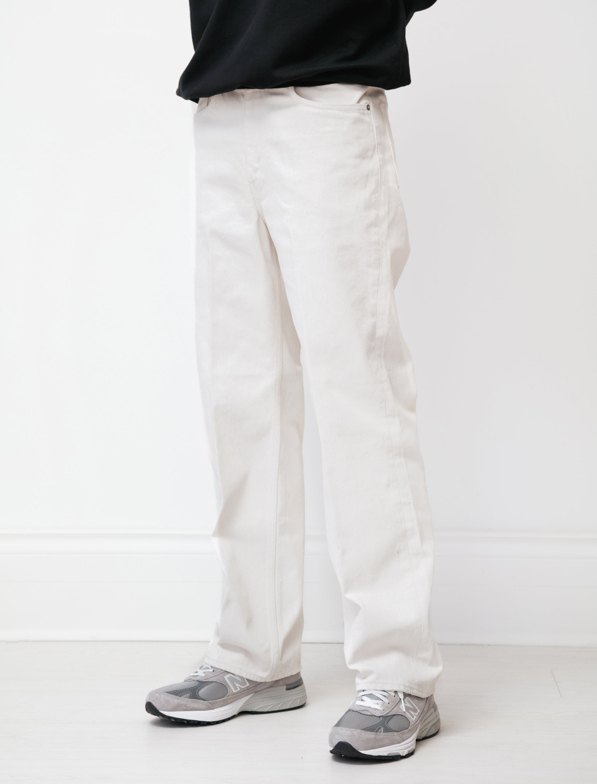 Auralee Hard Twist Denim Pants White Ivory