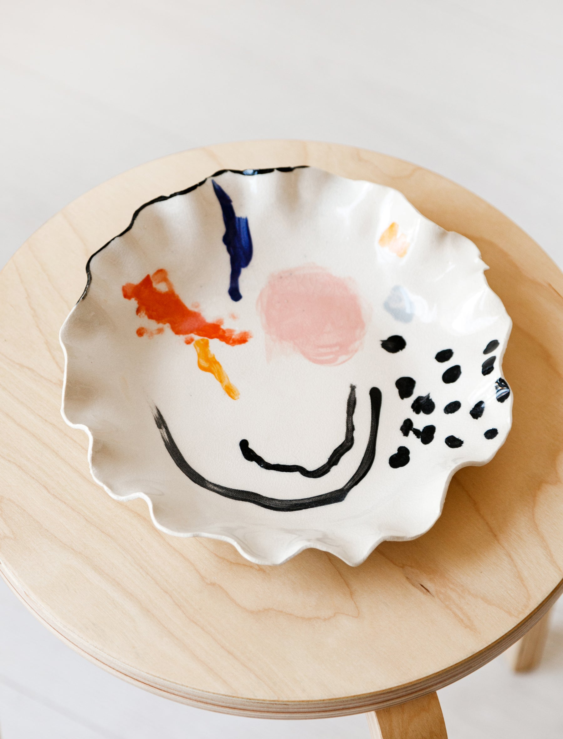 Nathalee Paolinelli Abstract Paint Shallow Bowl