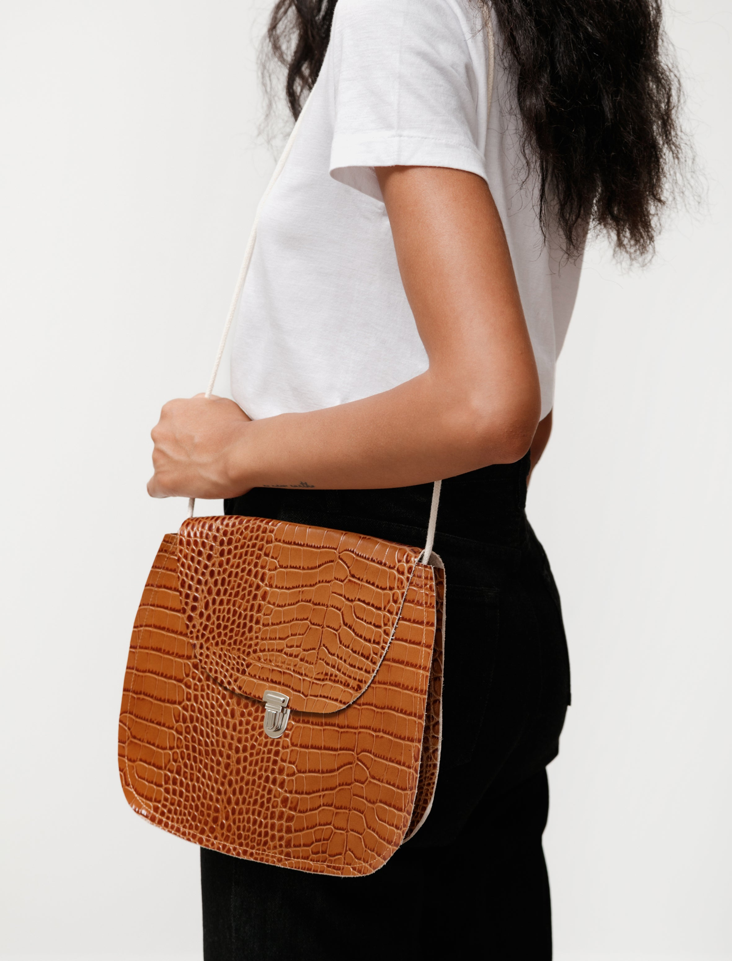Shoulder Bag Leather Snake Print