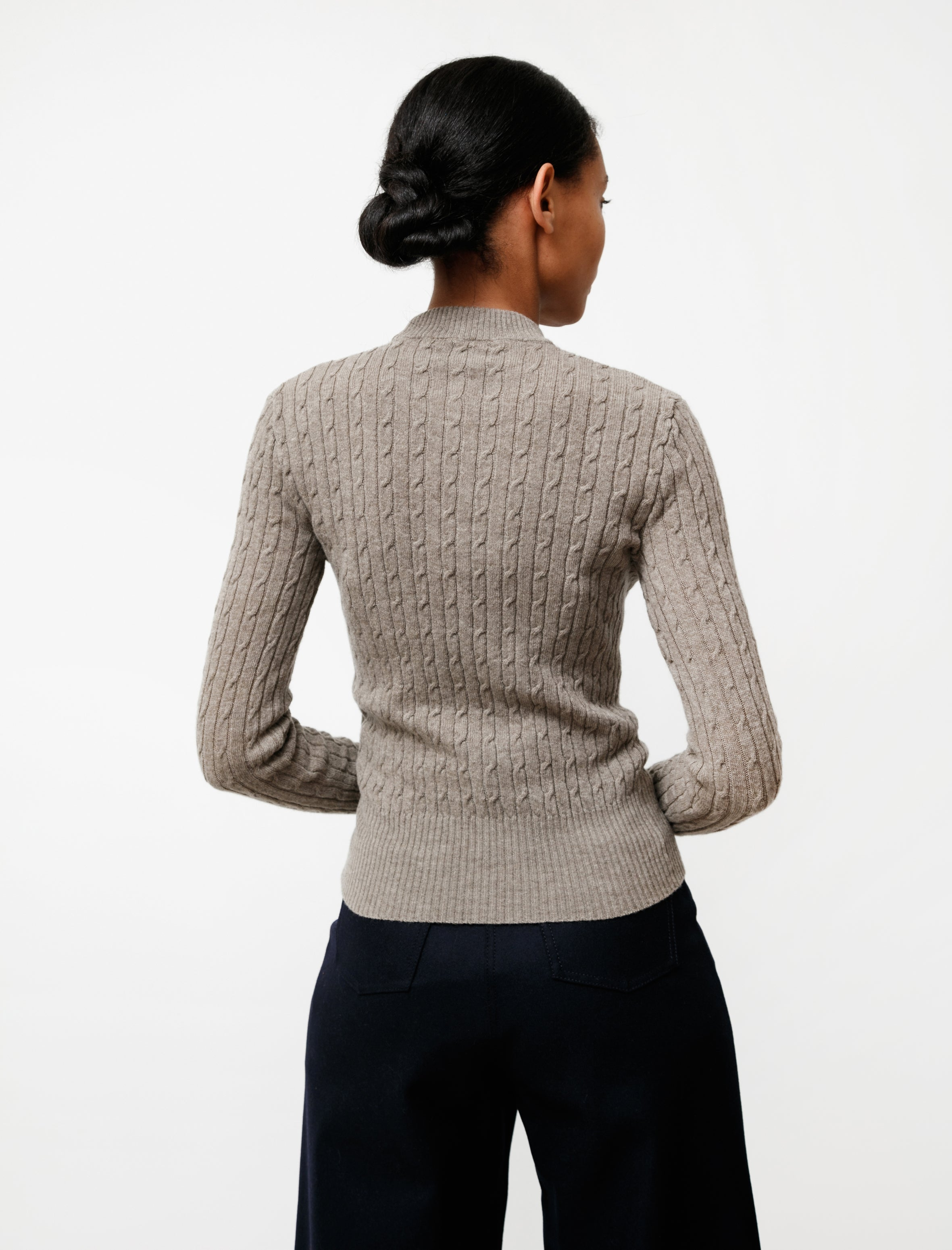Hache Thin Cable Knit Taupe