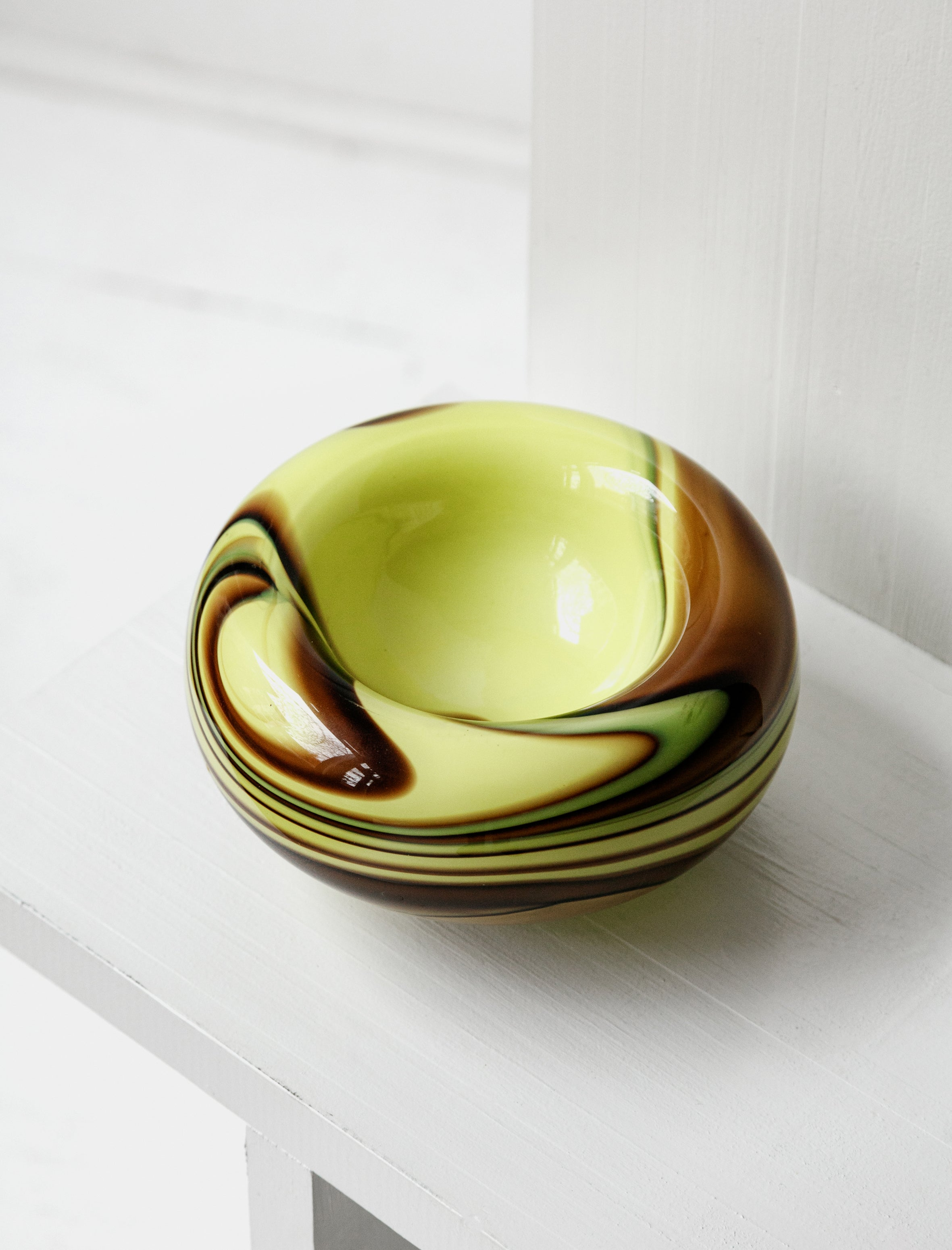 Found by Neighbour Swirl Glass Bowl Lemon and Cocoa Large