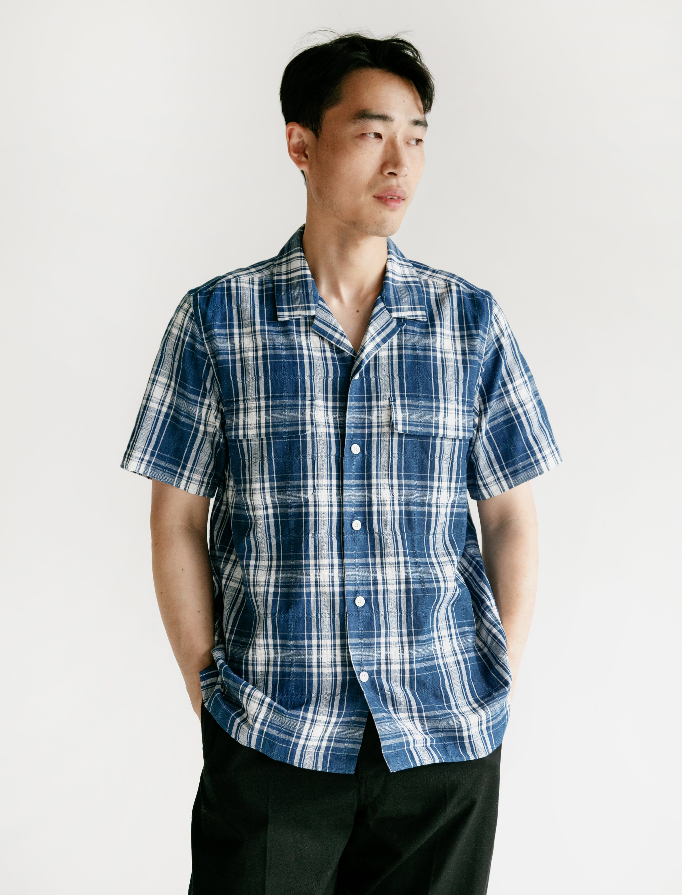 Indigo Dobby Check Open Collar S/S Shirt Light Indigo