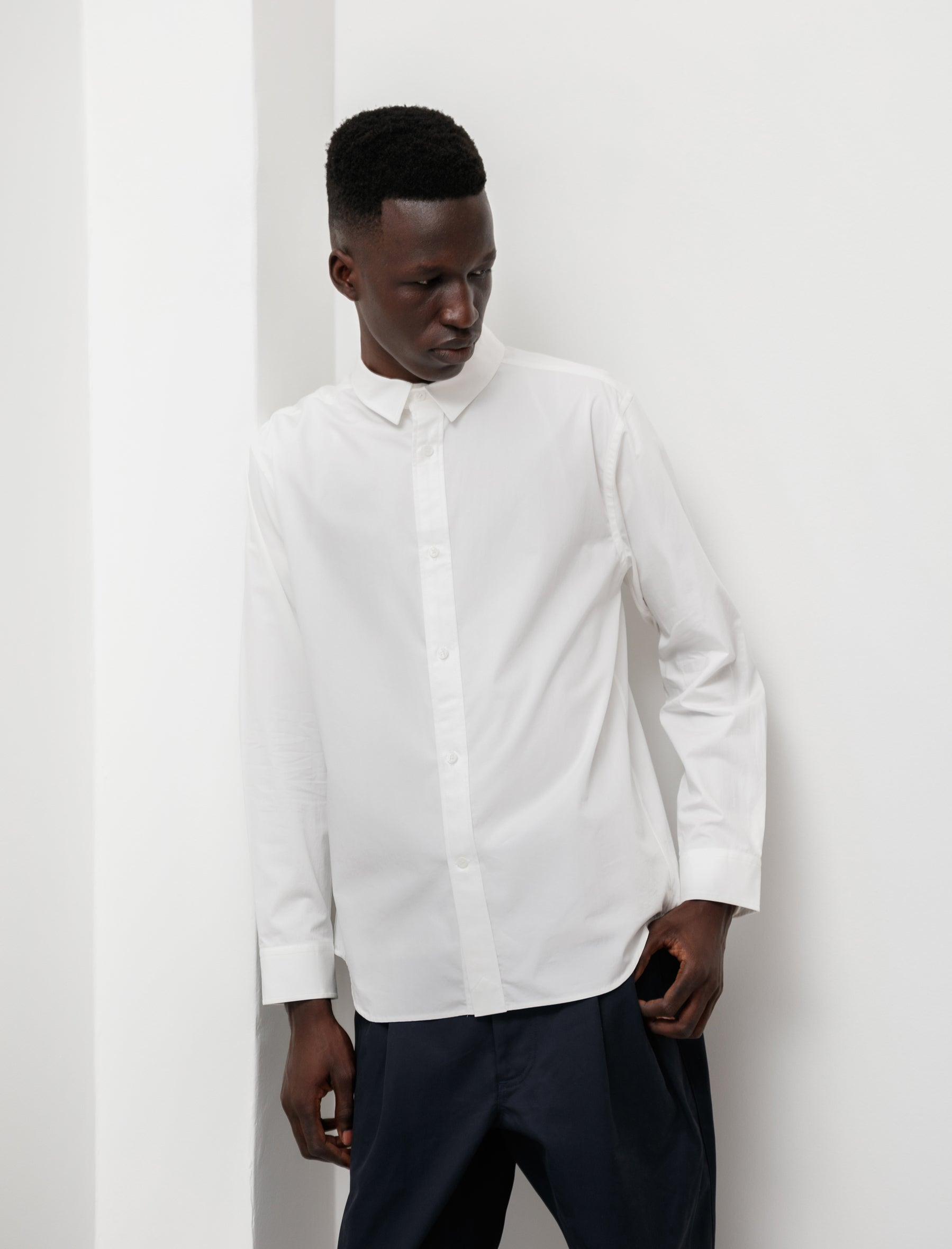 niuhans Supima Cotton Regular Collar L/S Shirt White
