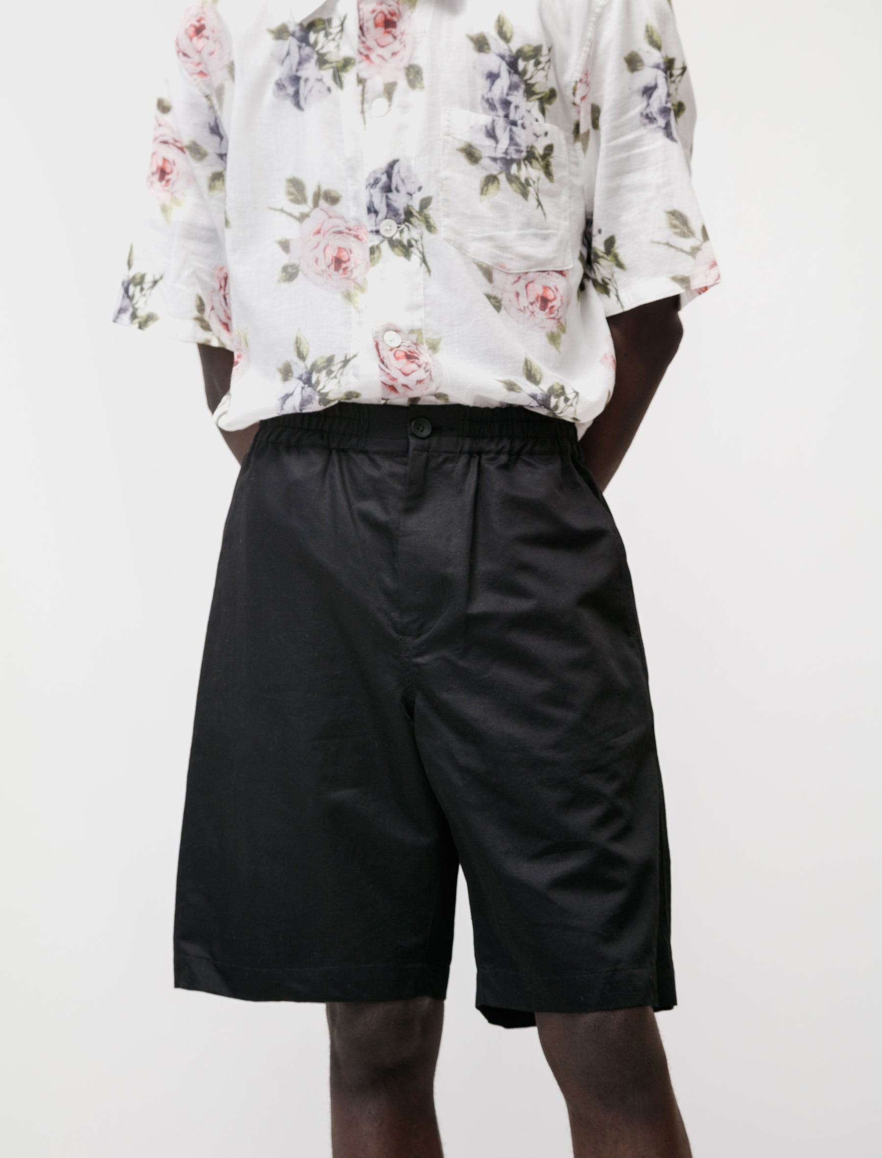 niuhans Relaxed Shorts Cotton Linen Silk Black