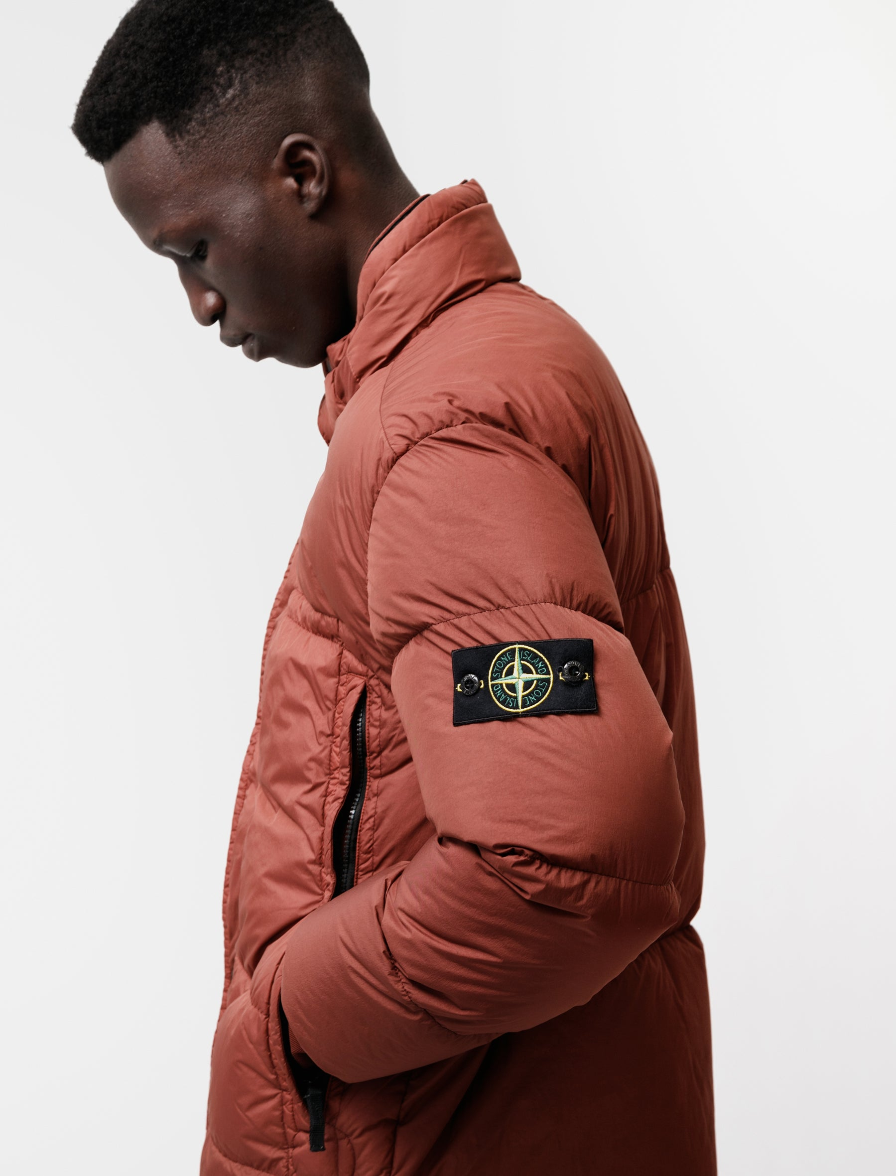Stone Island Real Down Jacket Garment Dyed Crinkle Reps Dark Burgundy