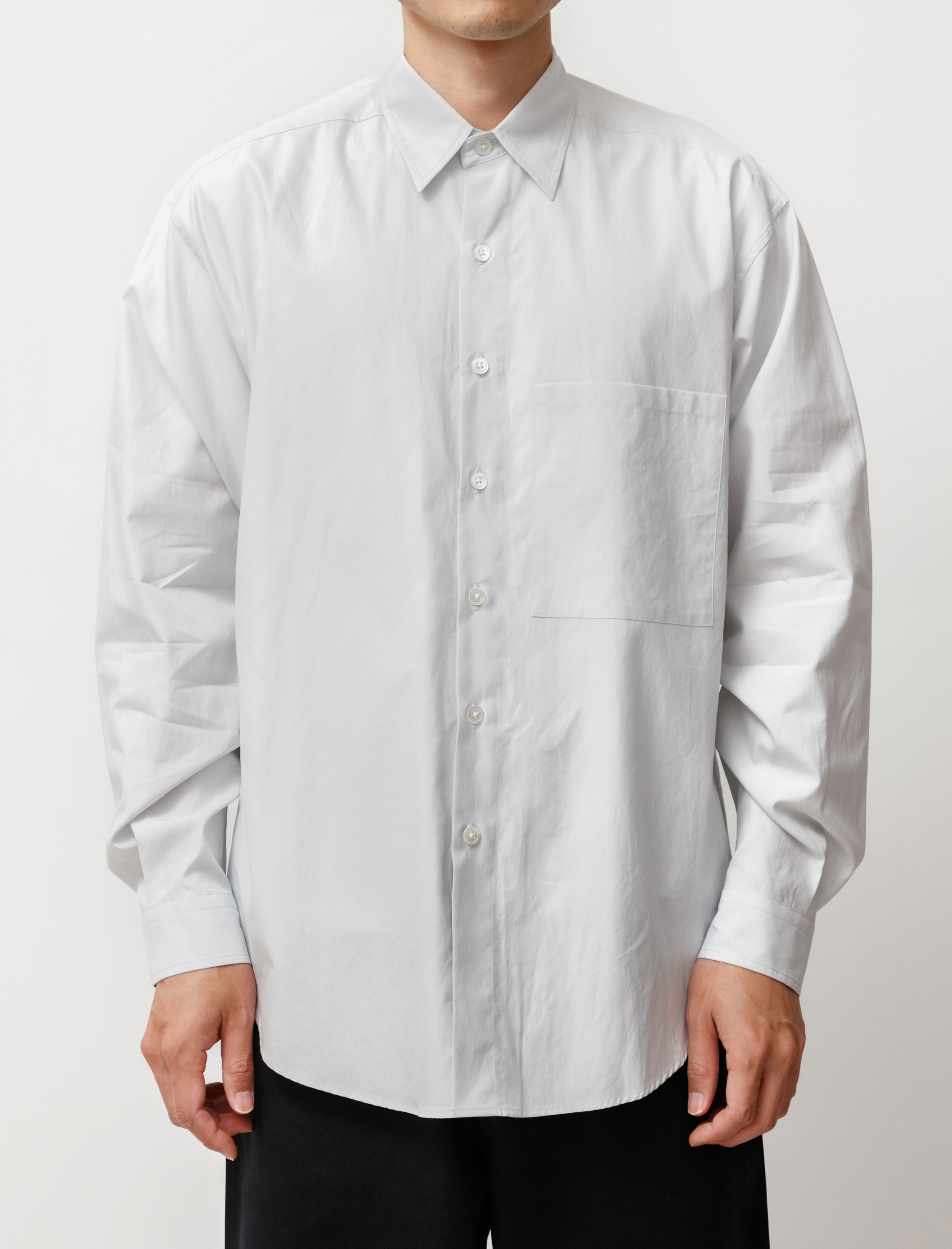 Auralee Washed Finx Twill Big Shirt Light Blue