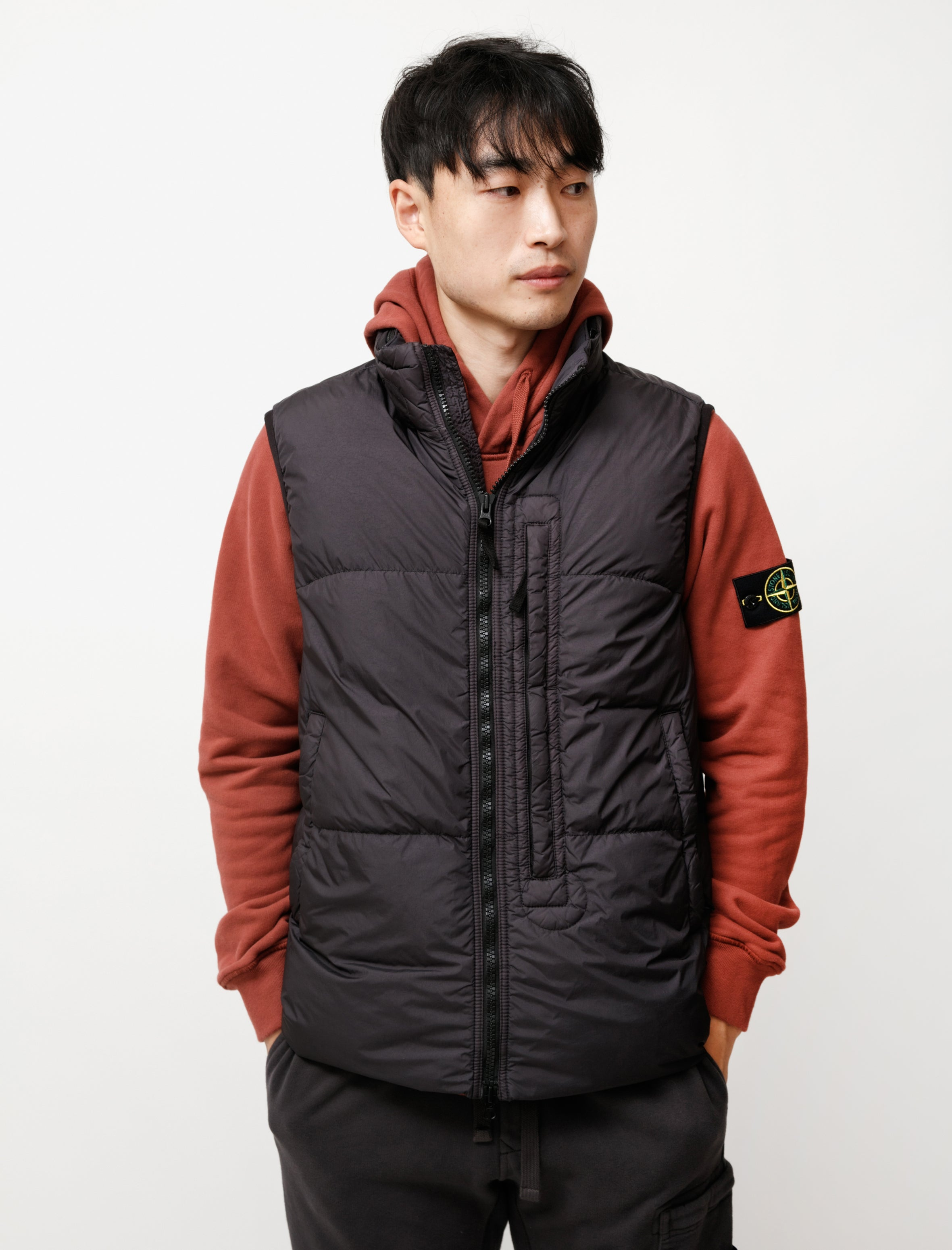 Stone Island Garment Dyed Crinkle Reps Down Vest Charcoal