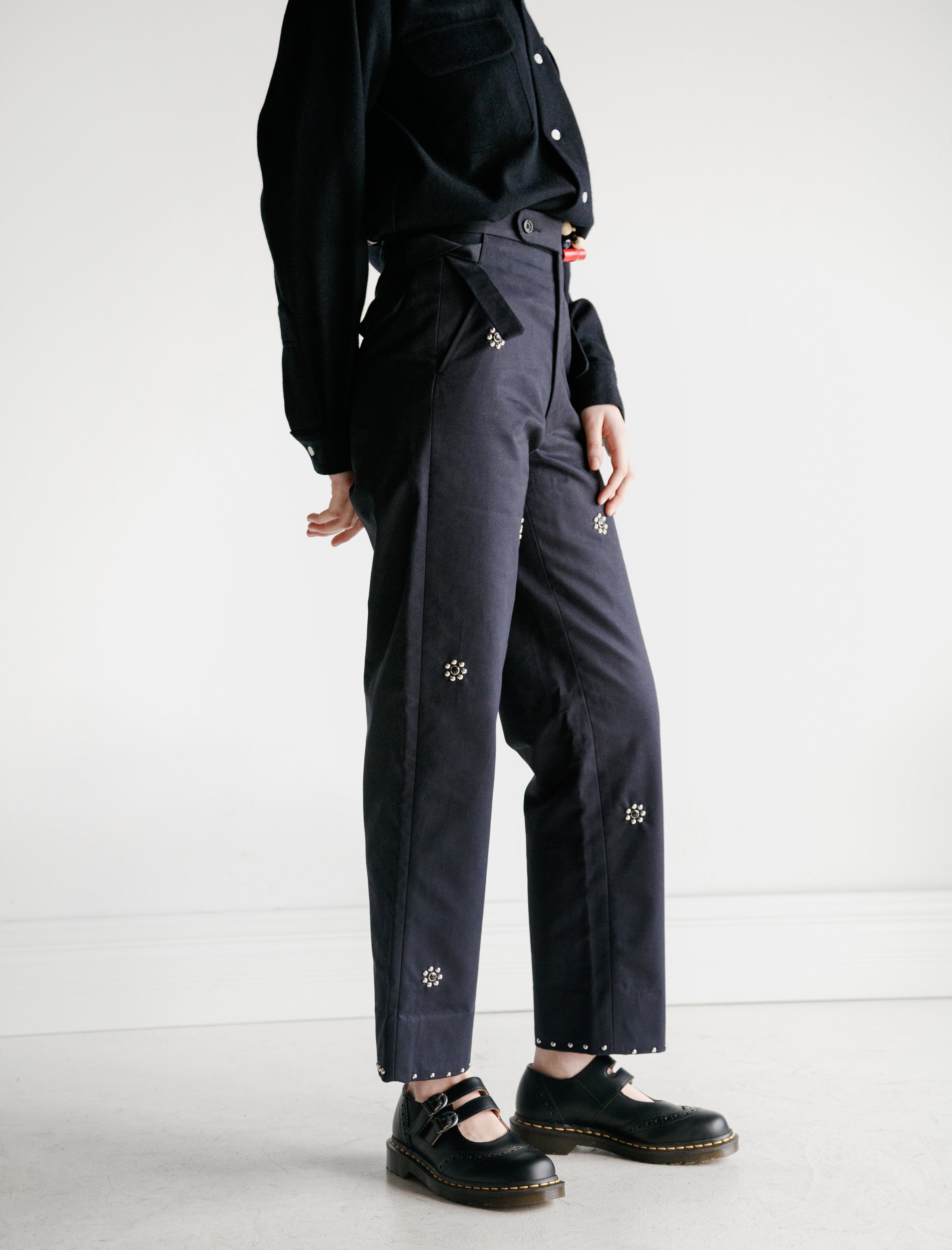 Bode Navy Studded Side Tie Trouser