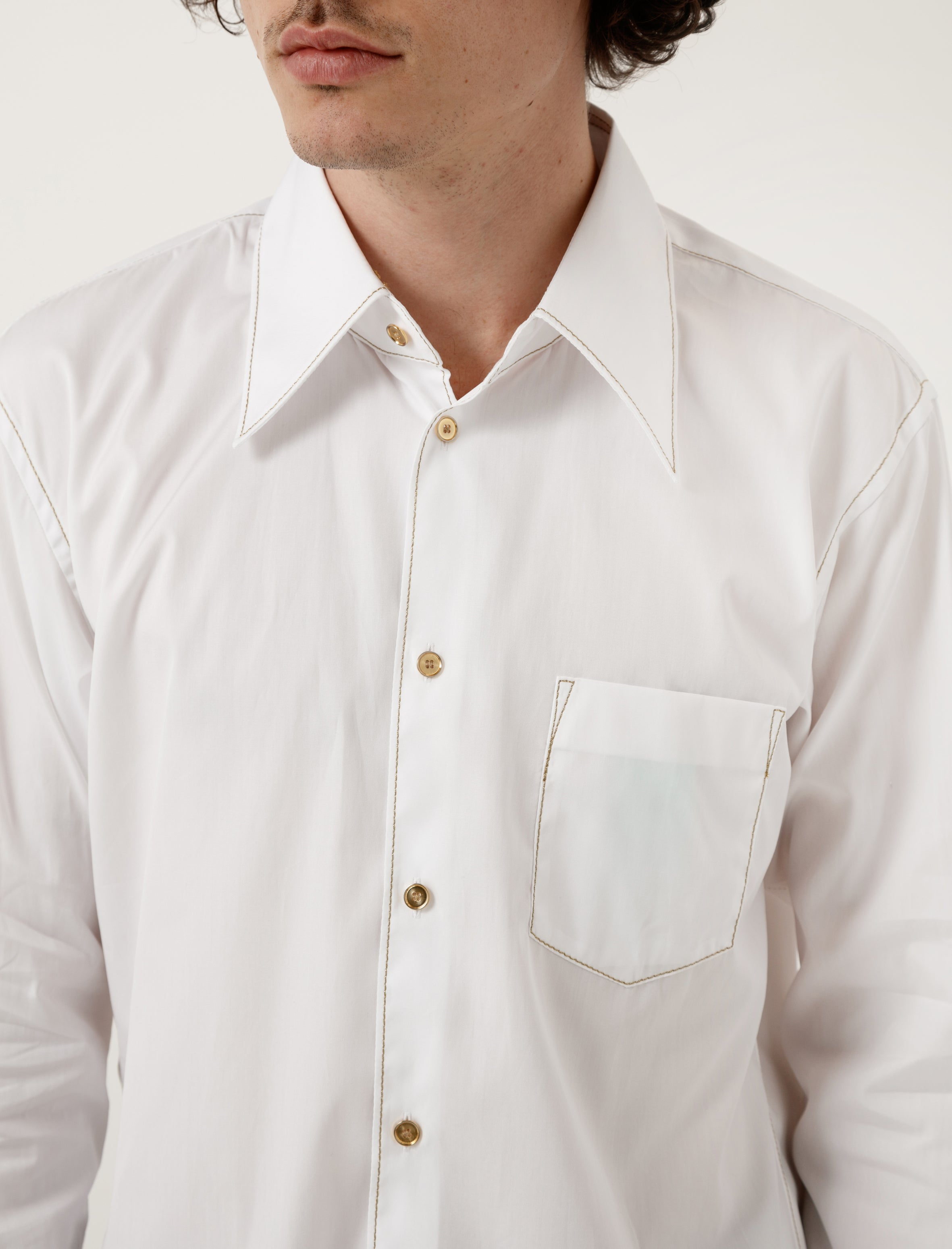 White with Gold Stitch Shirt