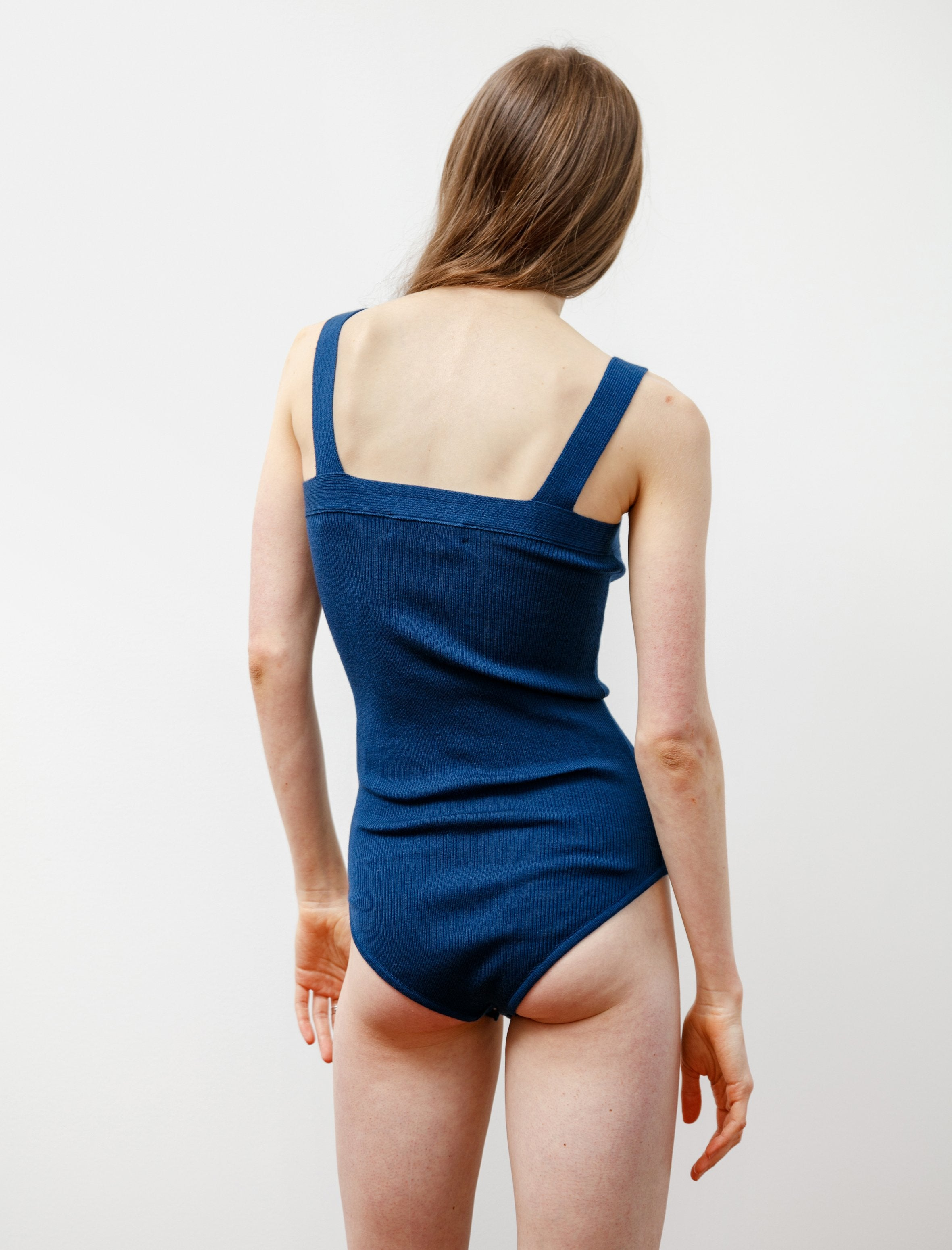 CristaSeya Silk and Cashmere Ribbed Bodysuit Azure