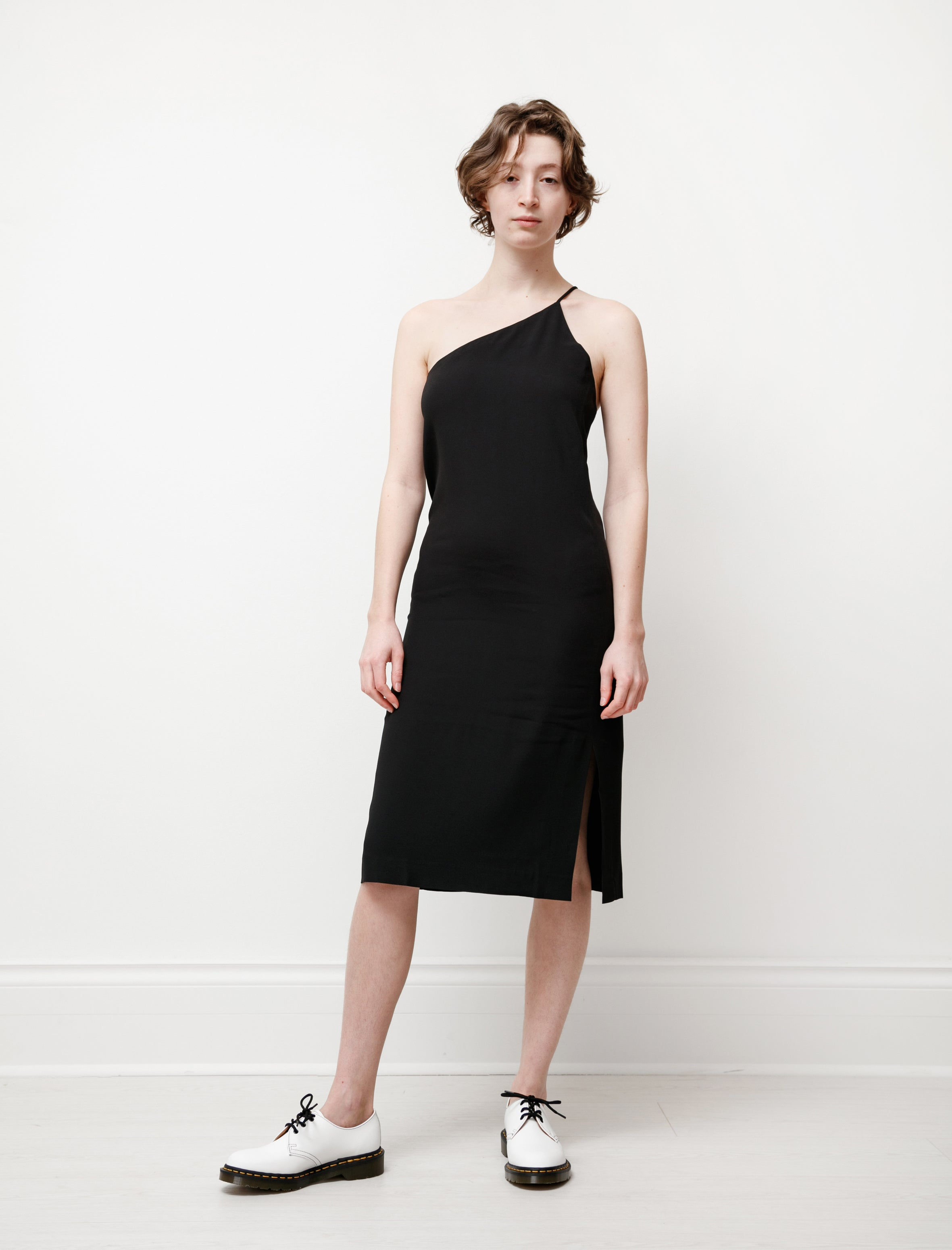 Acne Studios One Shoulder Dress Crepe Black