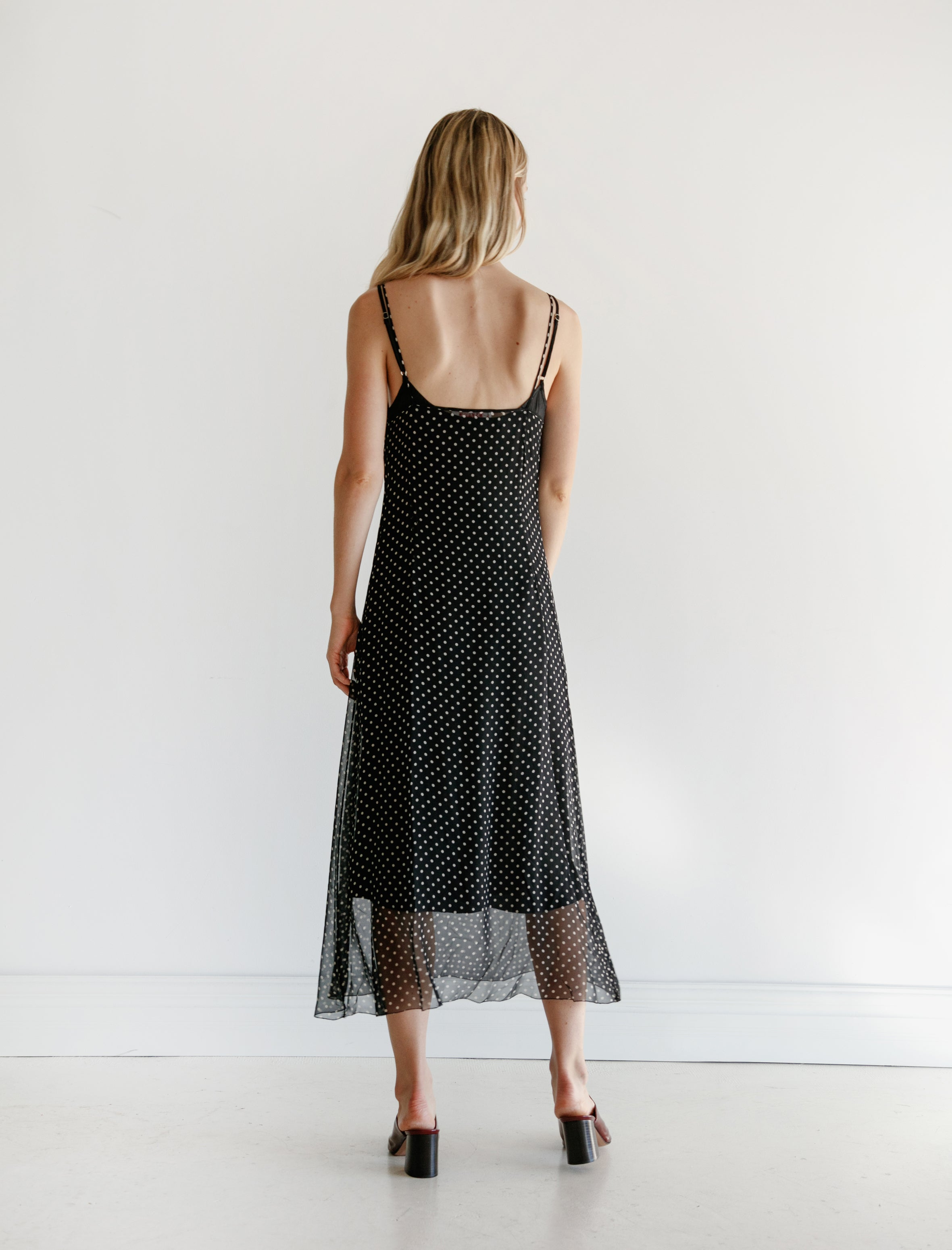 Organic by John Patrick Chiffon Dot Slip Dress