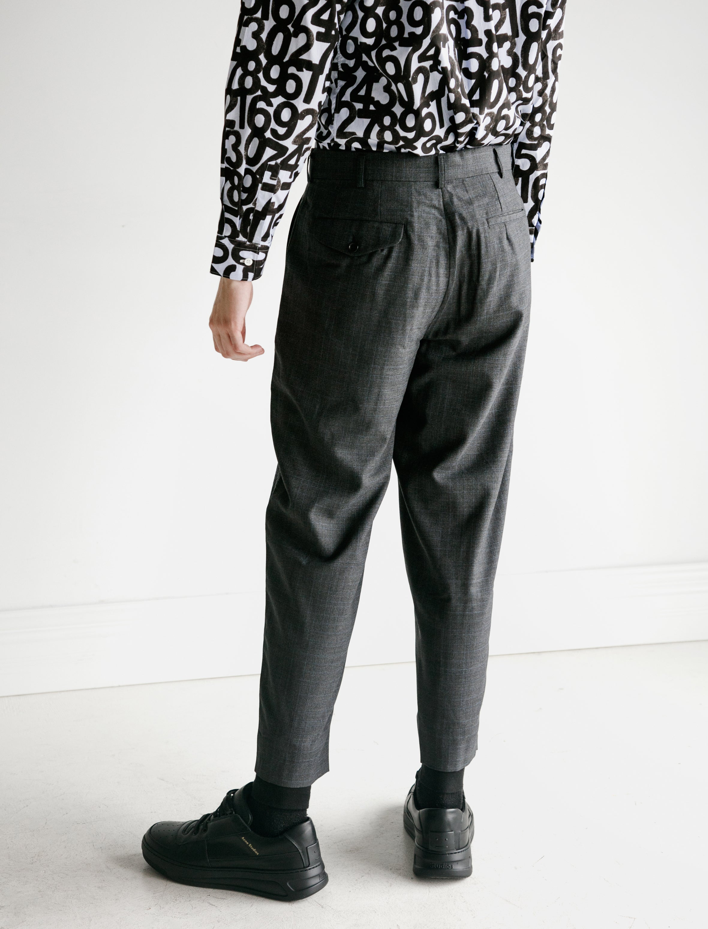 Comme des Garcons Wool Tropical Check Flannel Suit Pants