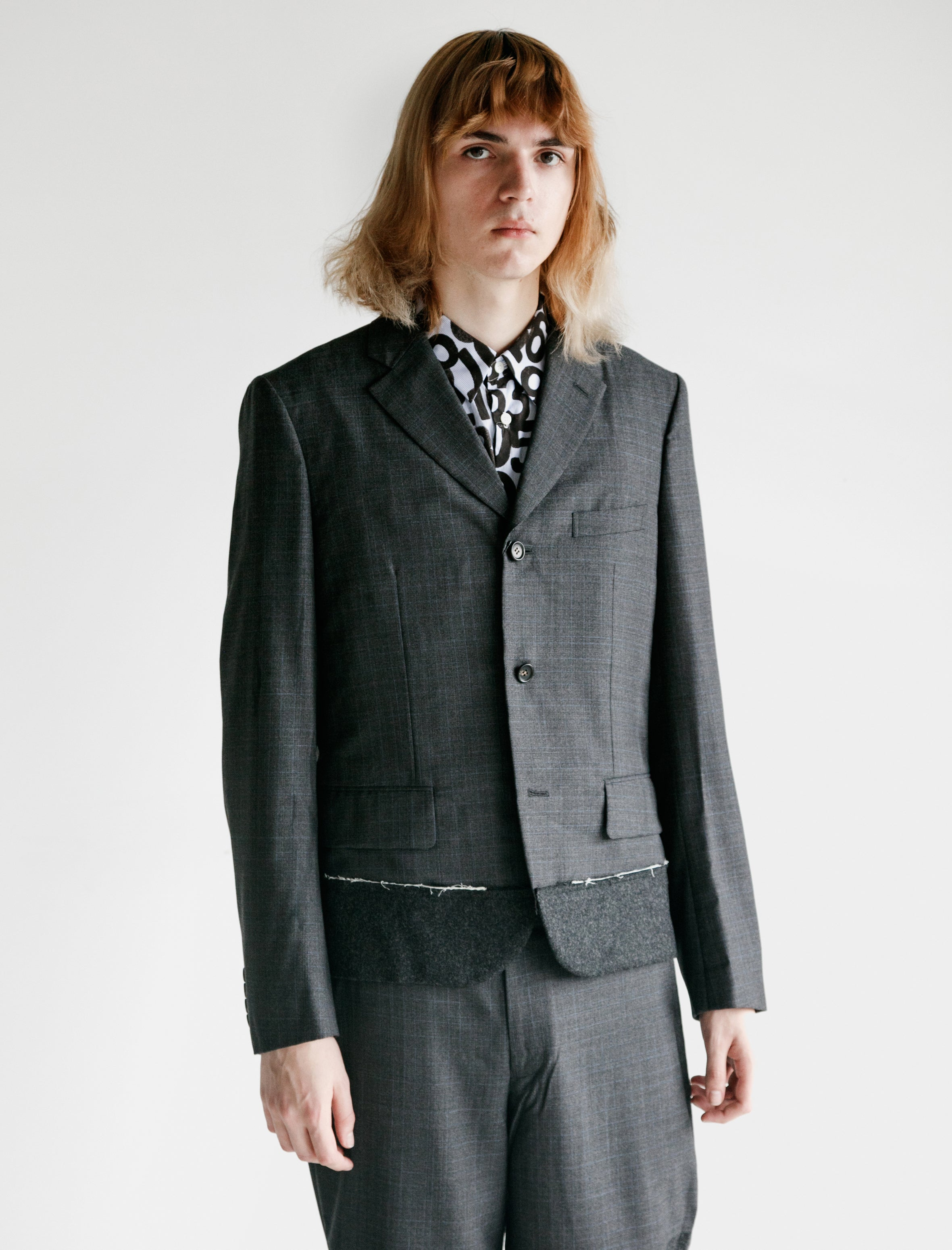 Comme des Garcons Homme Deux Wool Tropical Check Flannel Jacket Charcoal