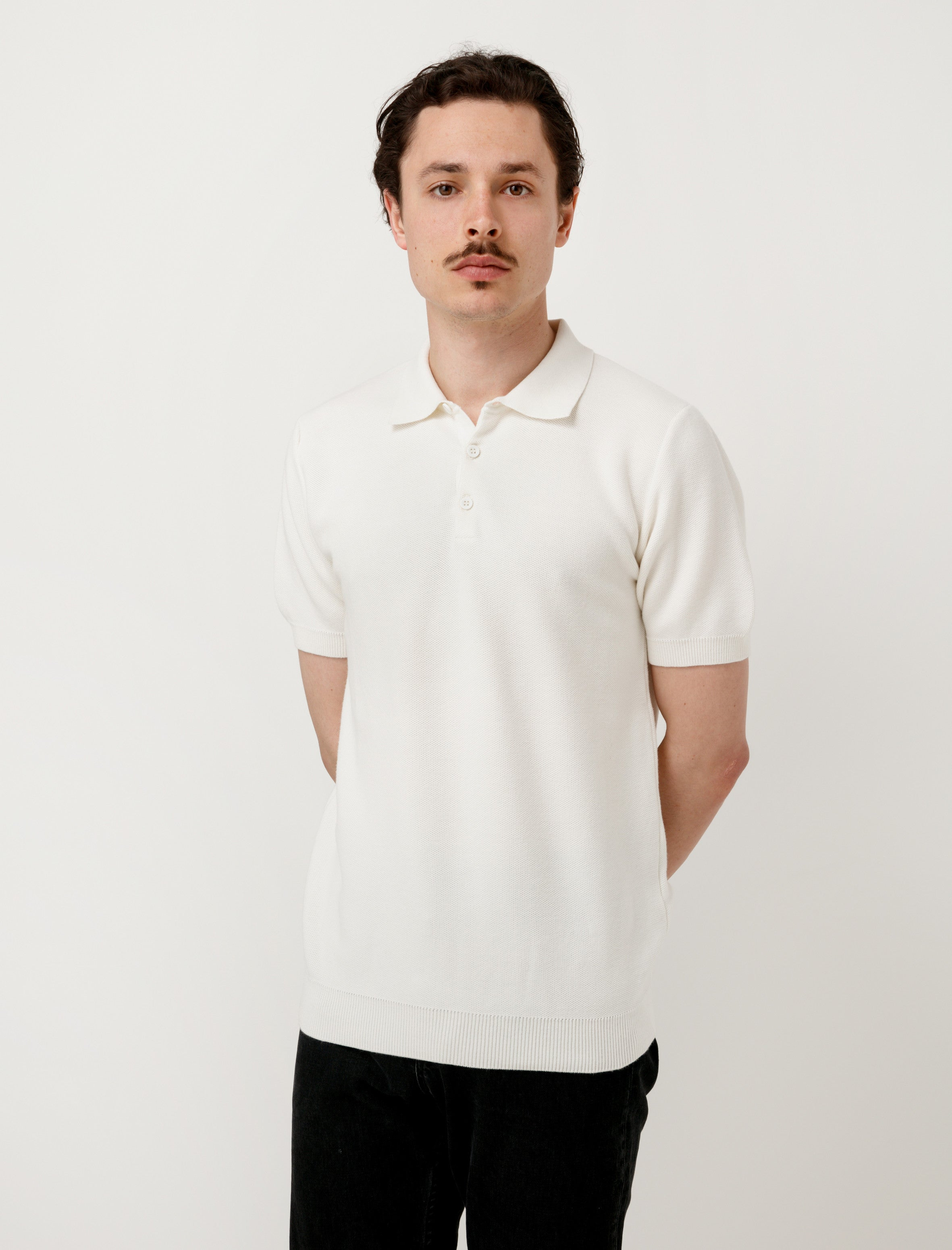 Mesh Textured Polo Off White
