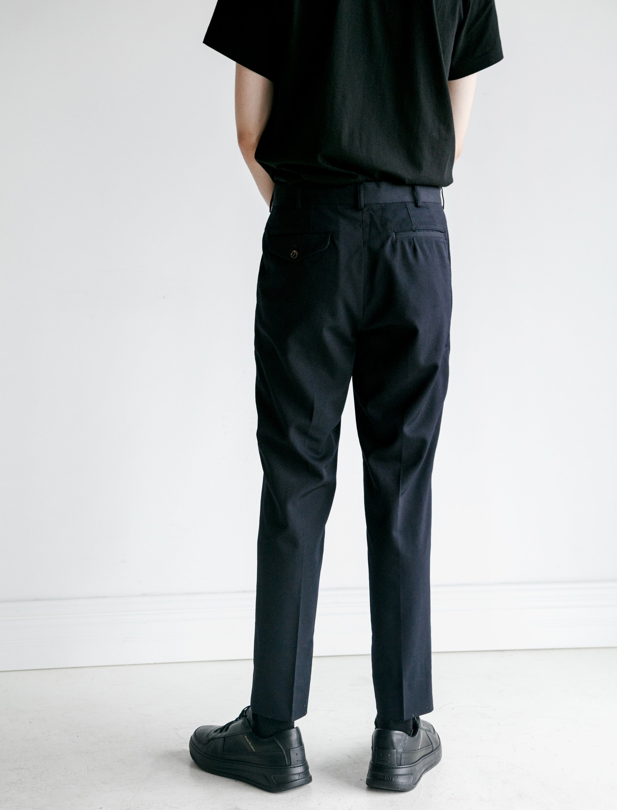 Comme des Garcons Wool Gabardine Tailored Pants Navy