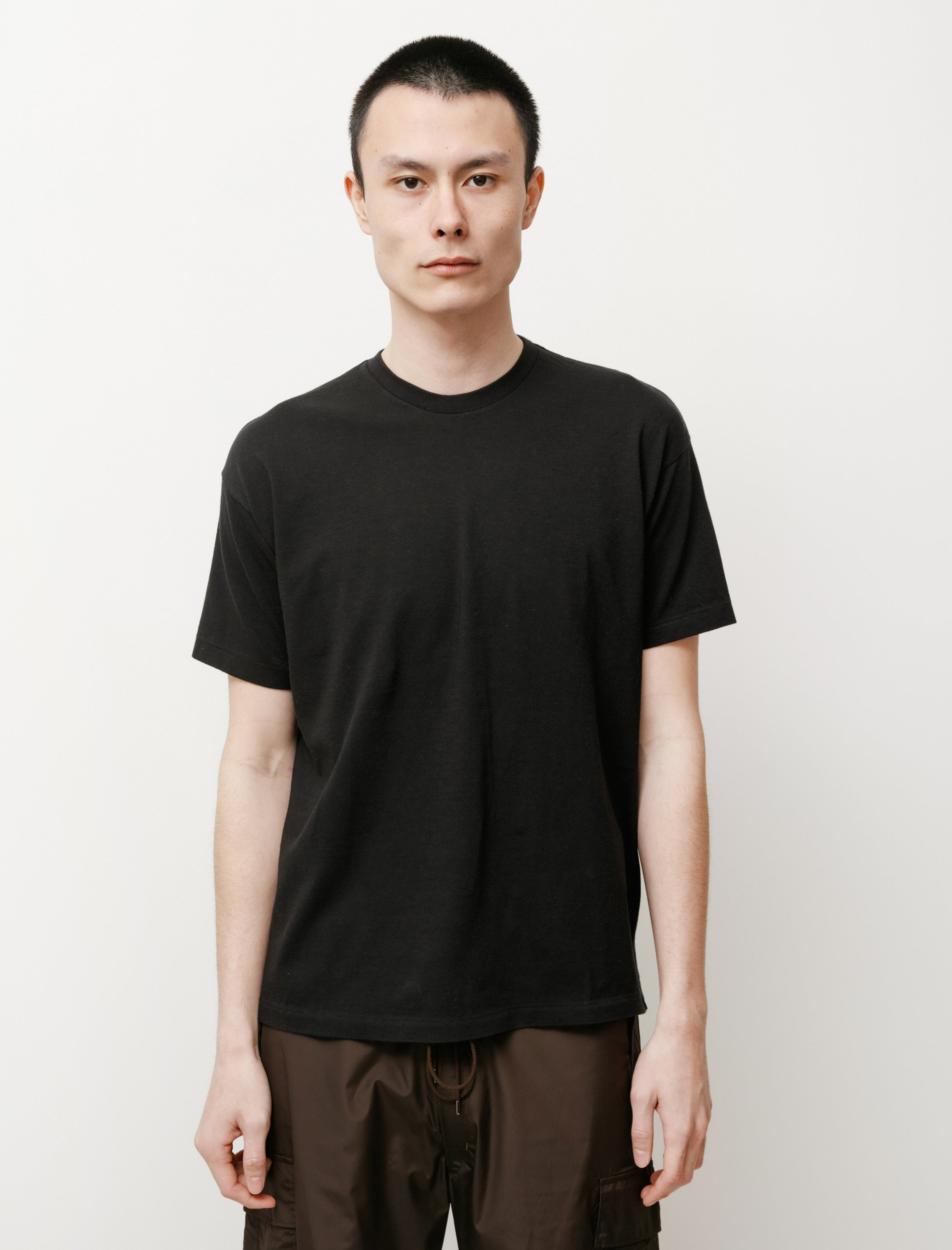 Auralee Seamless Crew Neck Tee Black