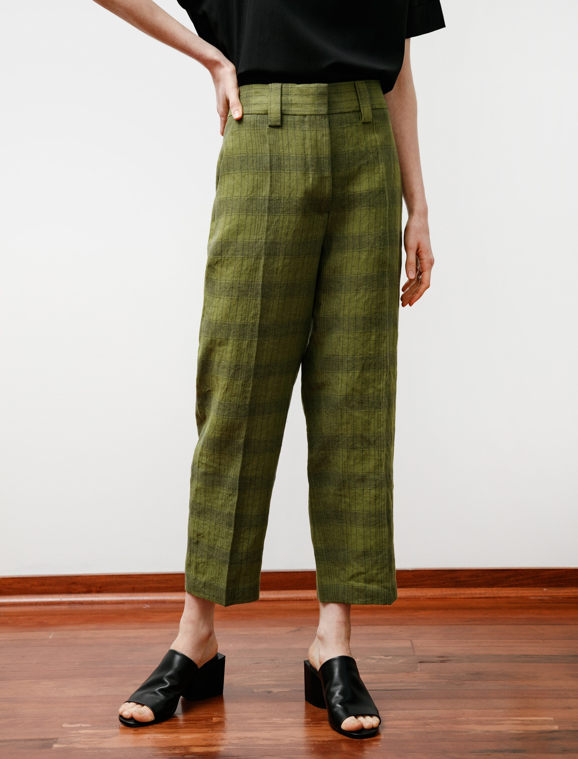 Acne Studios STR02 Check Trousers Green/Grey