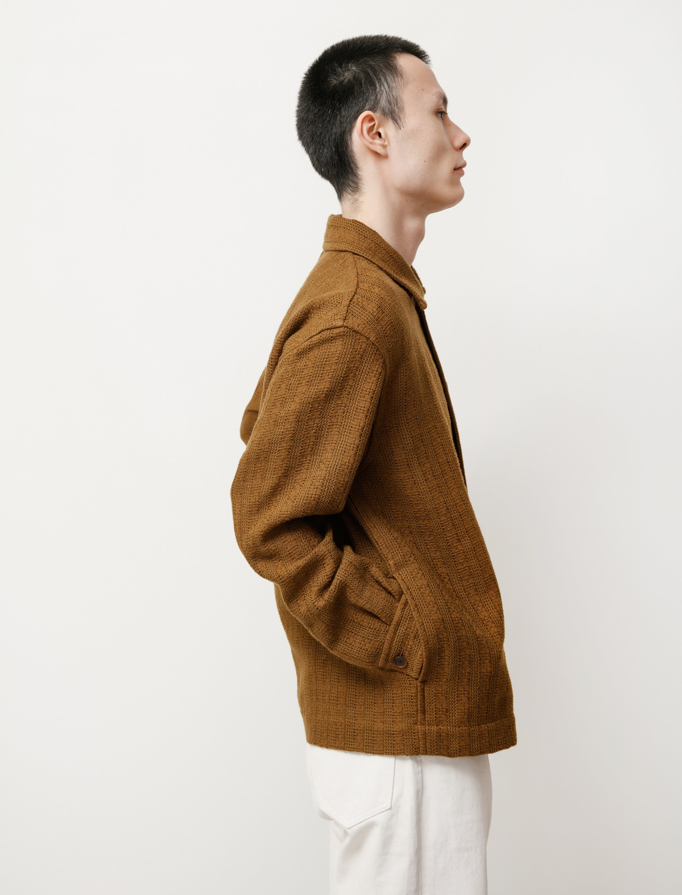 Auralee Cotton Linen Leno Blouson Brown