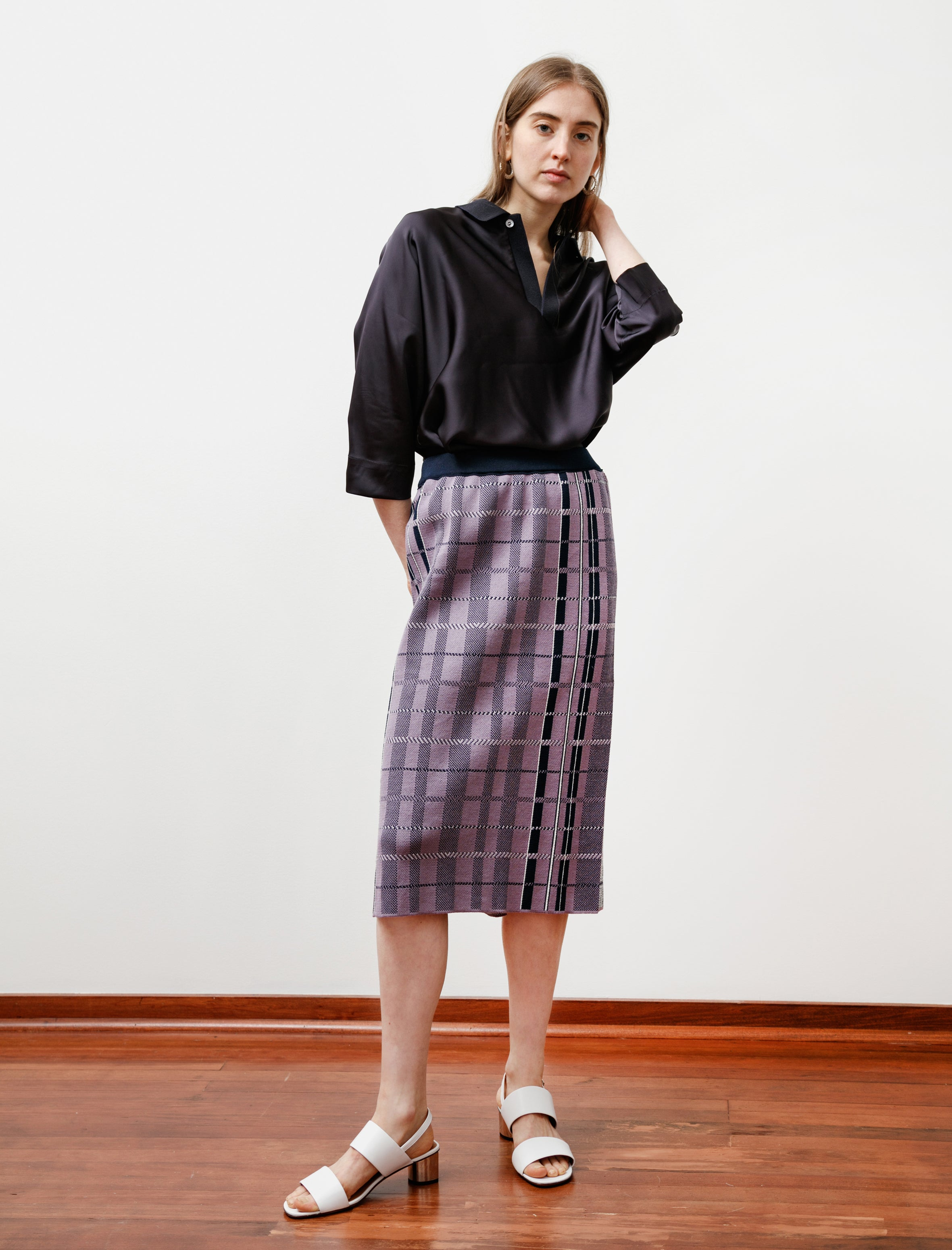 Stephan Schneider Top Skirt Cooling Check Lilac