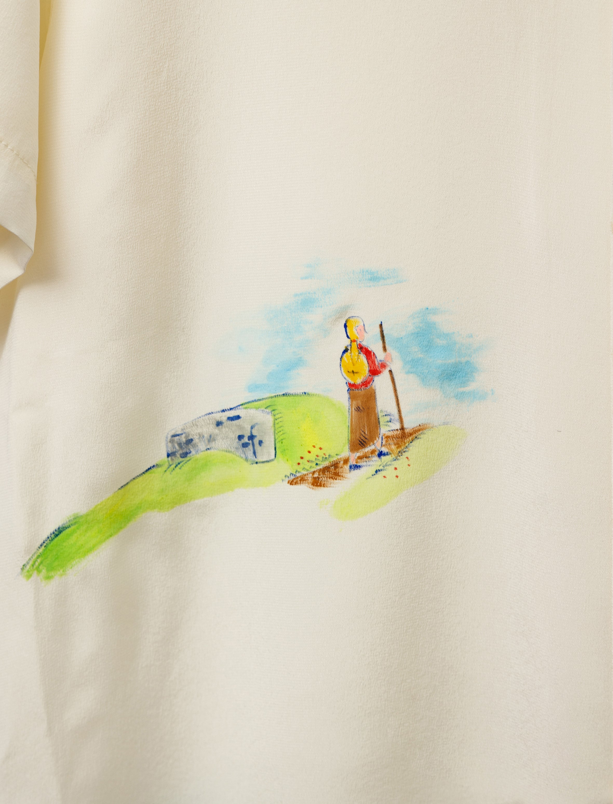 Bode Silk Hand Painted Landscape Shirt