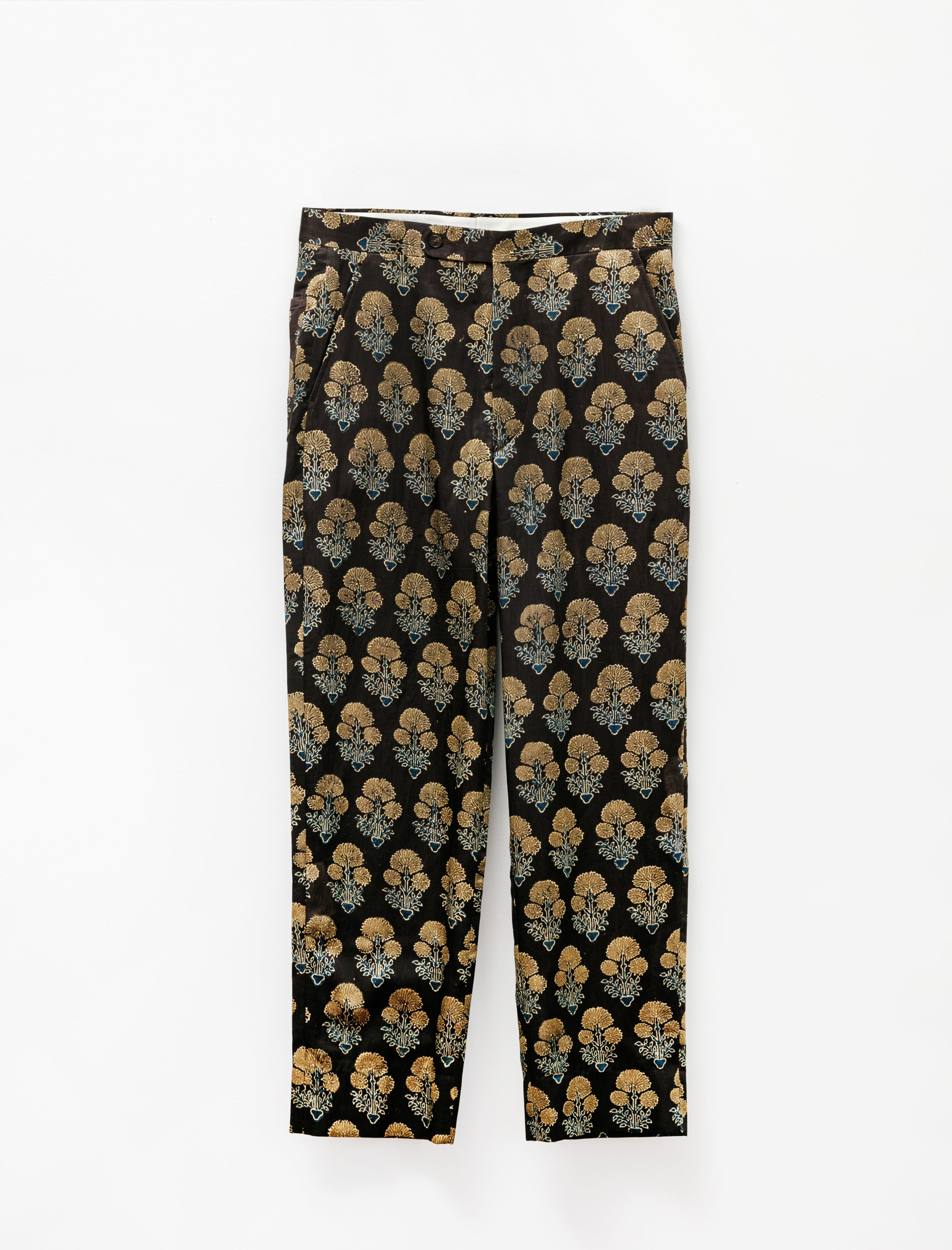 Bode Block Print Floral Trousers