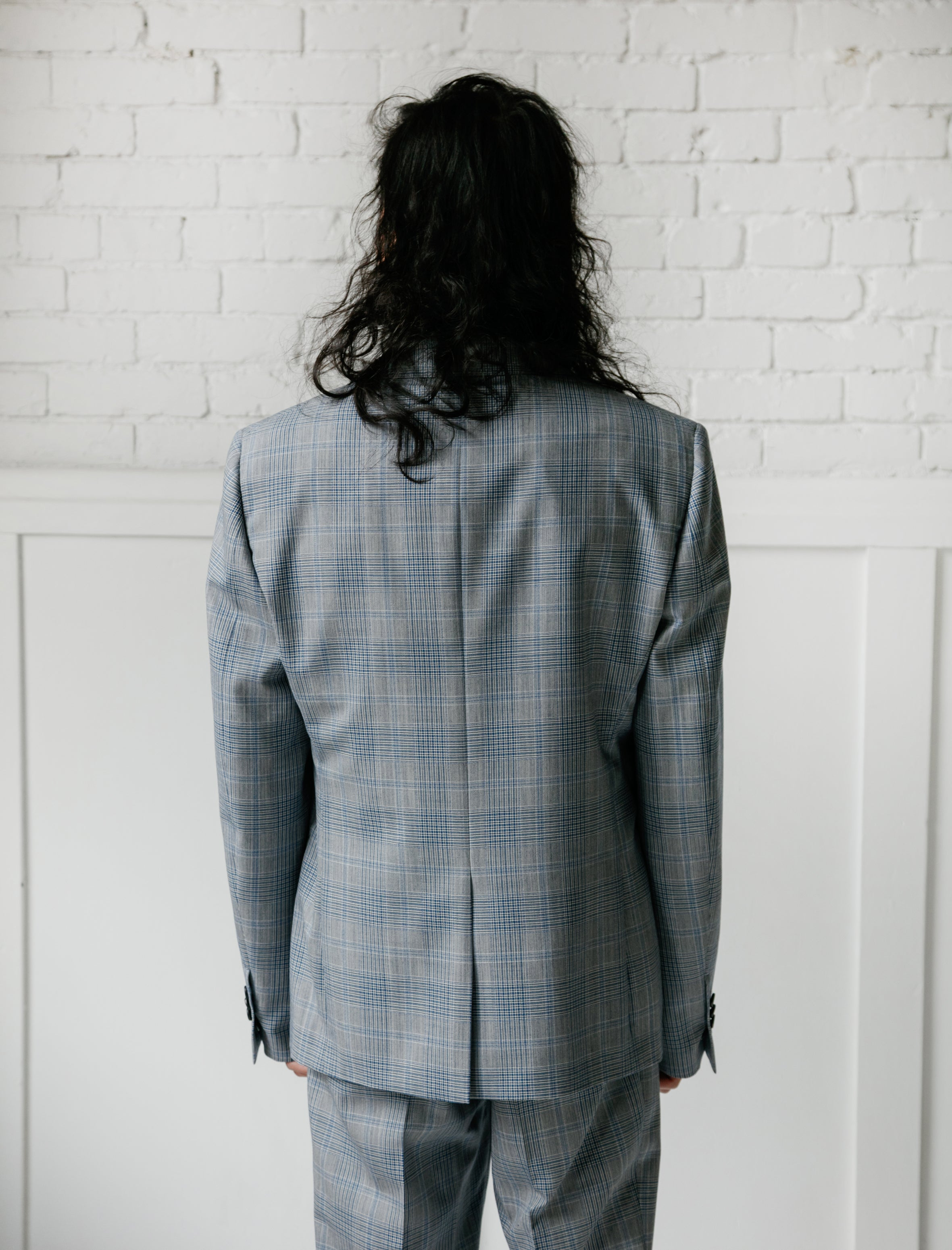 Glen Plaid Plainweave Wool Jacket