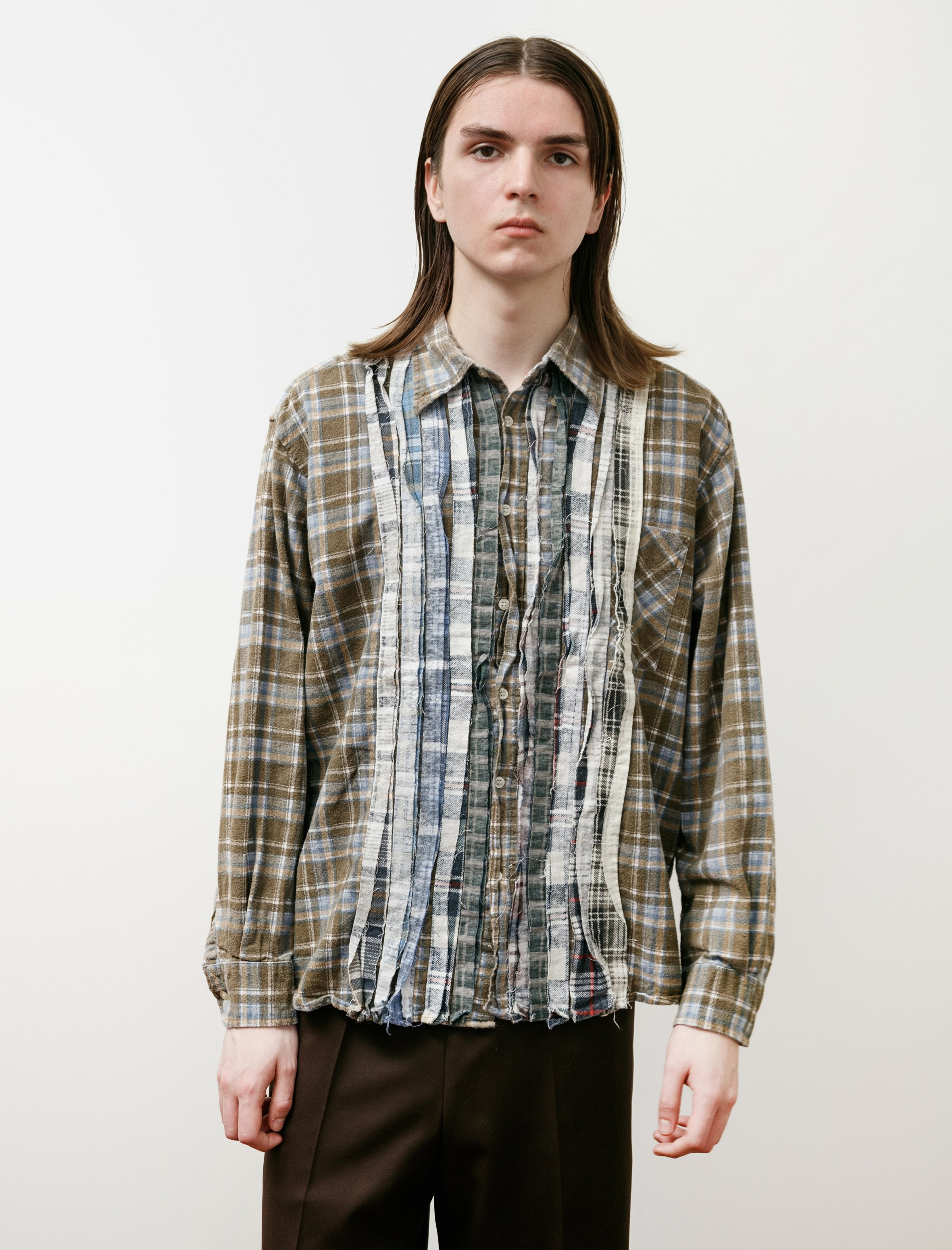 Needles Rebuild Flannel Ribbon Shirt Large