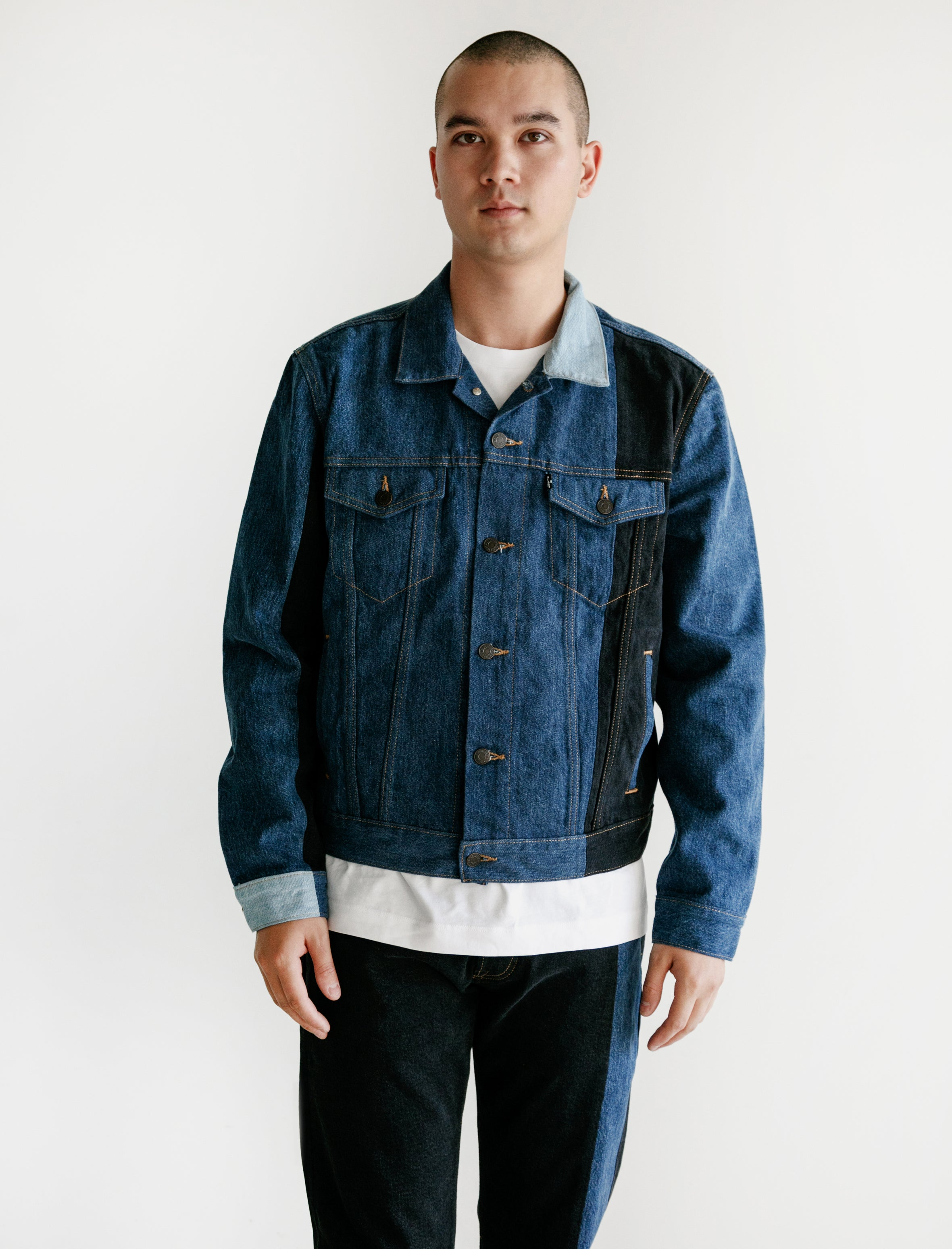 on sale bed78 6ebca Gosha Rubchinskiy Levis Patchwork Jacket Navy