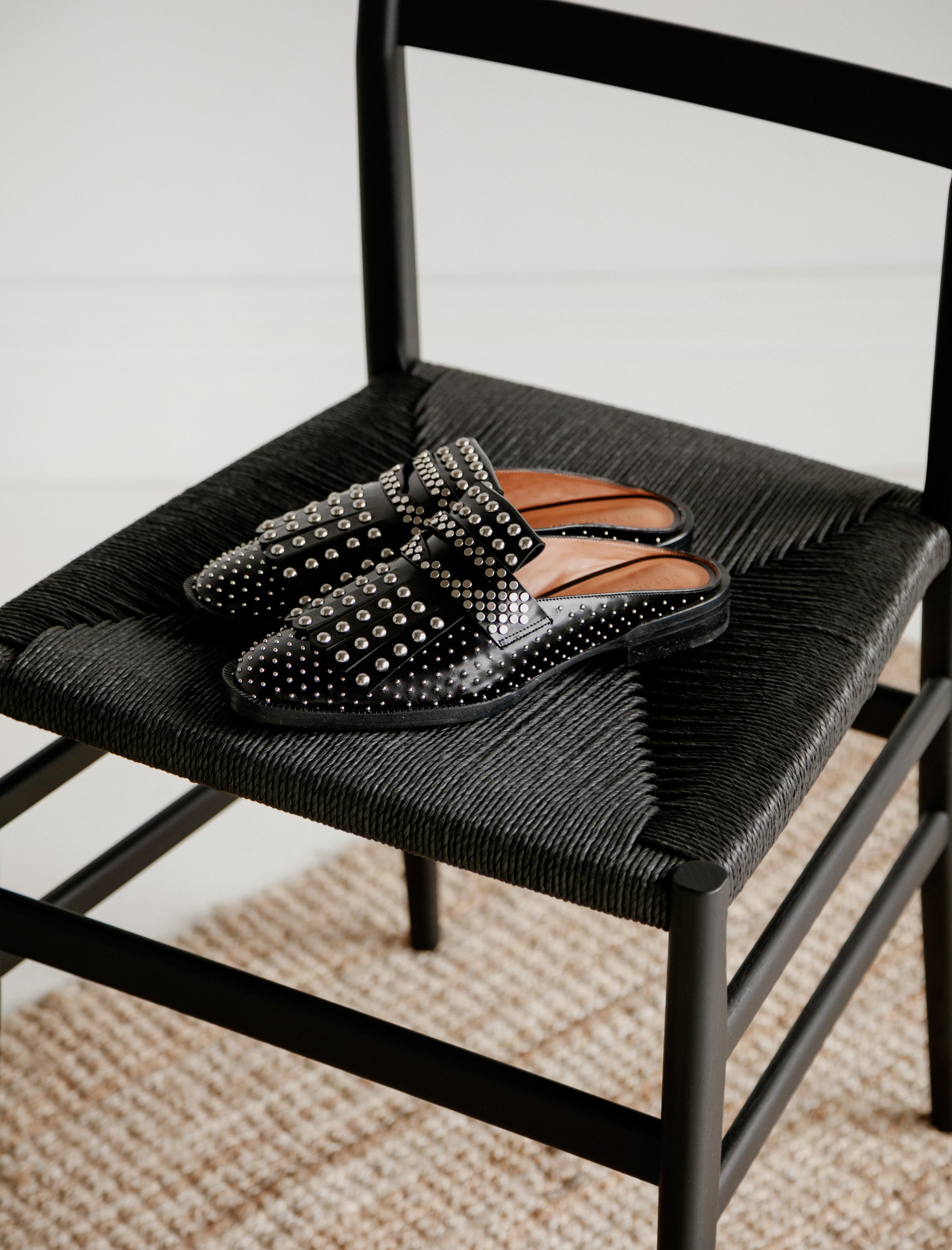 Clergerie Youla Studded Slides Black Spazzolato