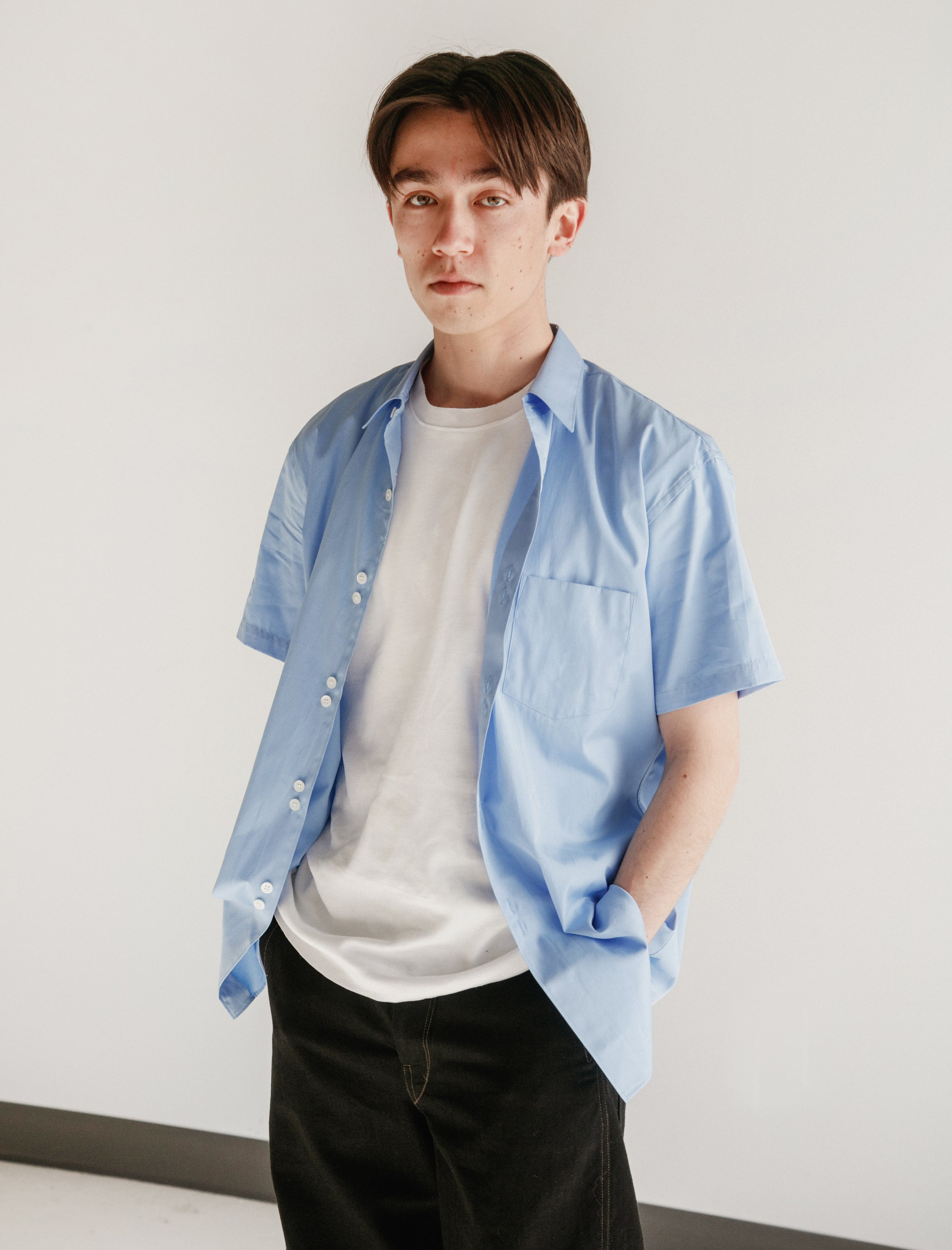 Double Button Poplin Shirt Light Blue