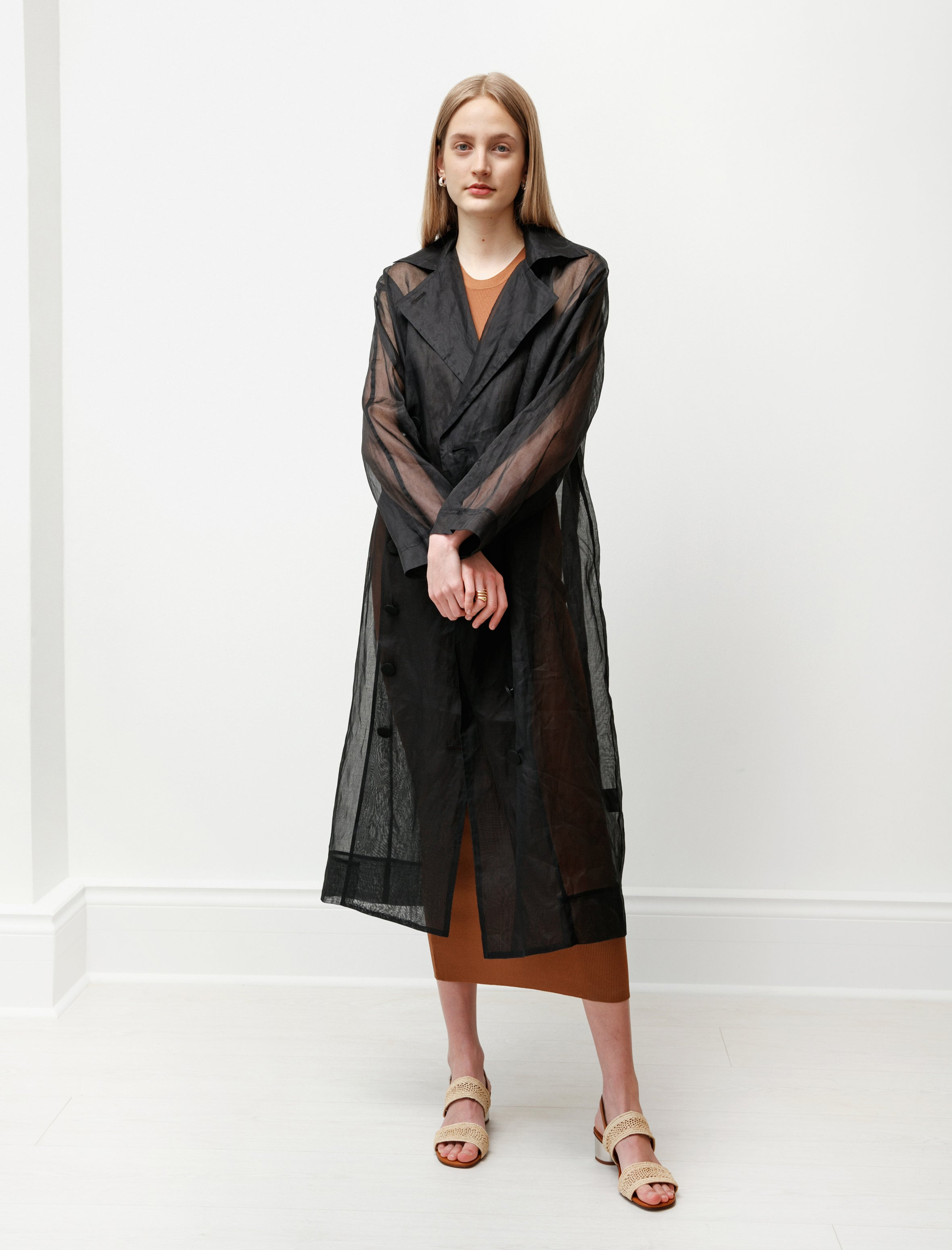 Totême Pisa Trench Coat Sheer Organza Black