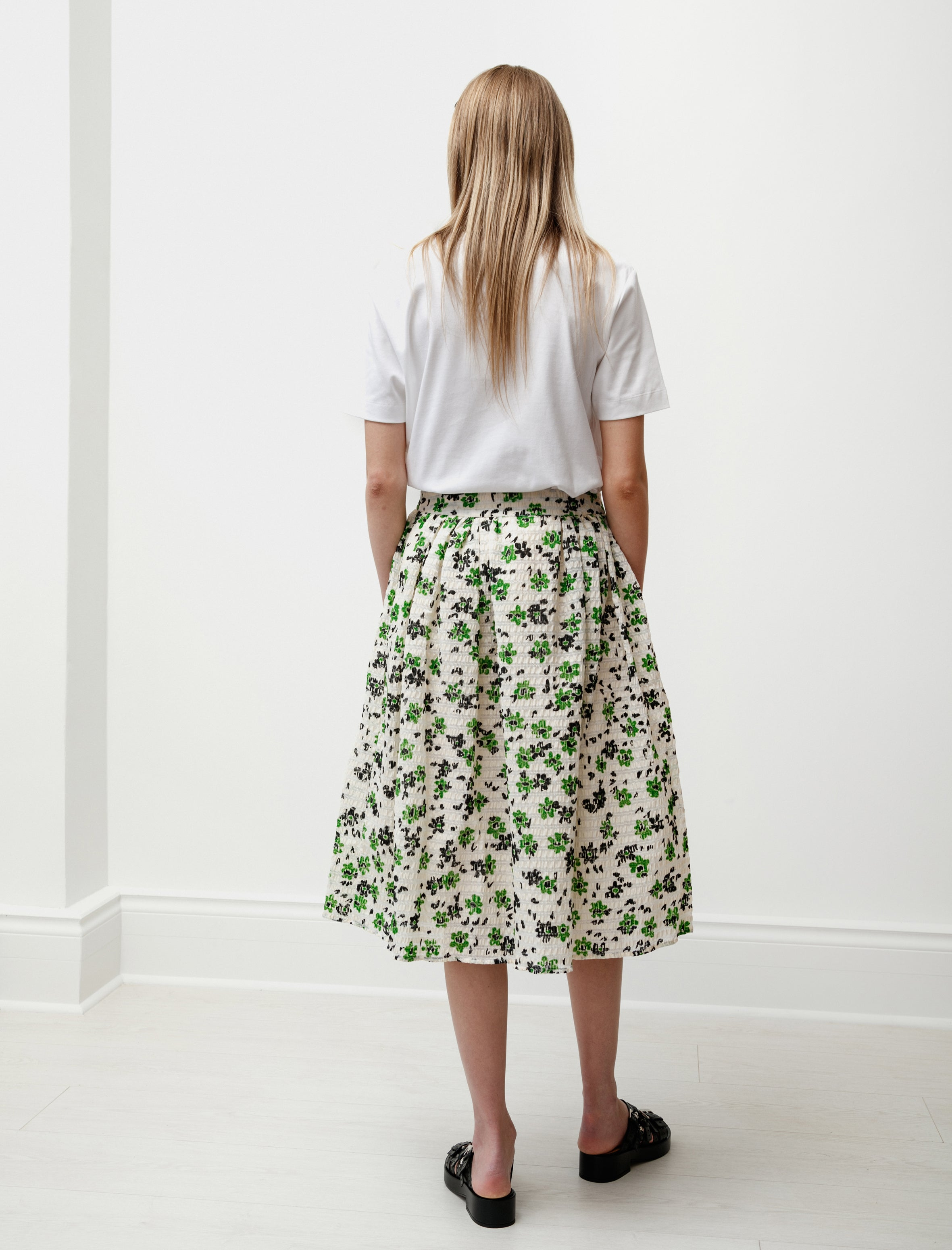 Shrimps Wade Gathered Skirt Green/Cream