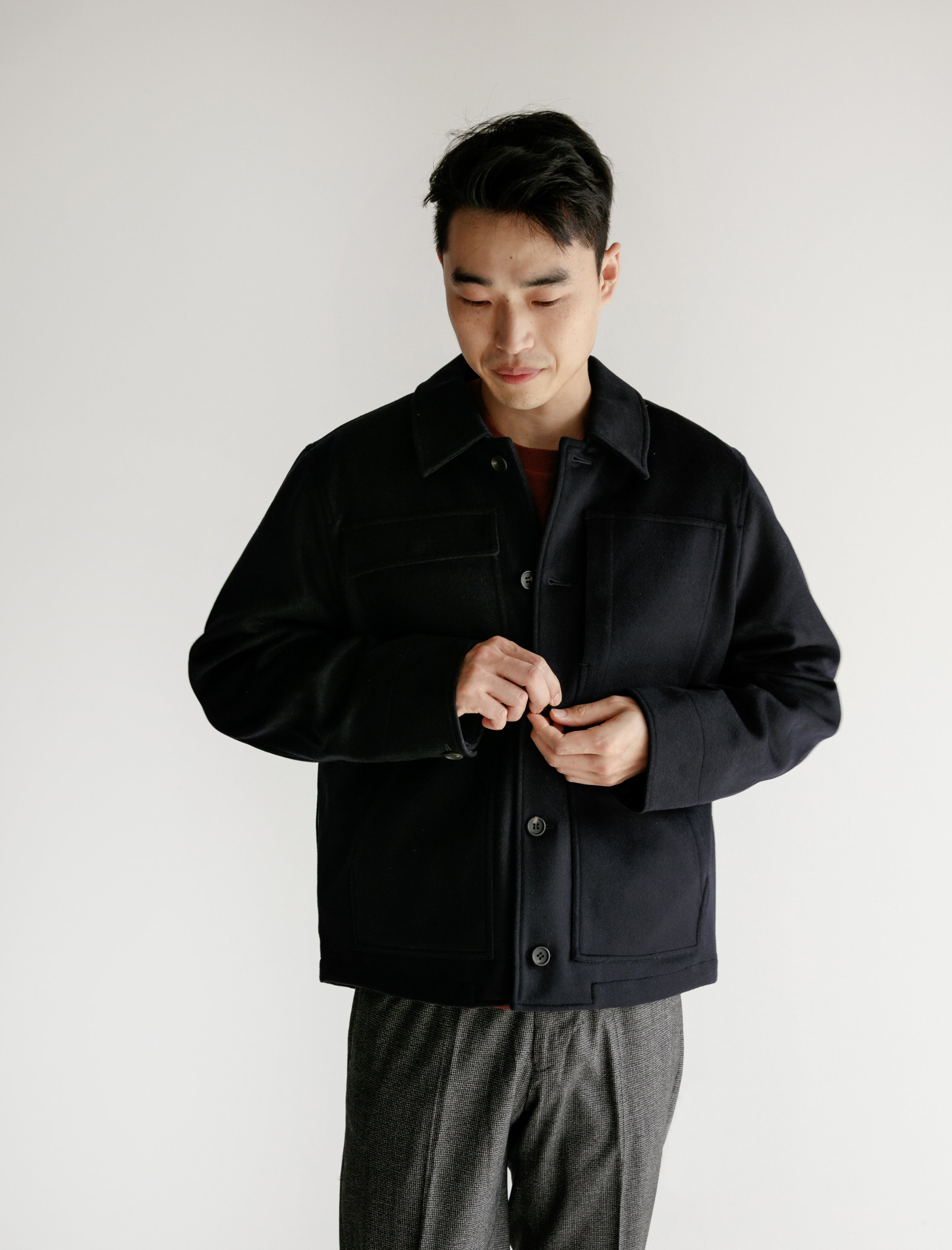 Booth Jacket Melton Wool Navy