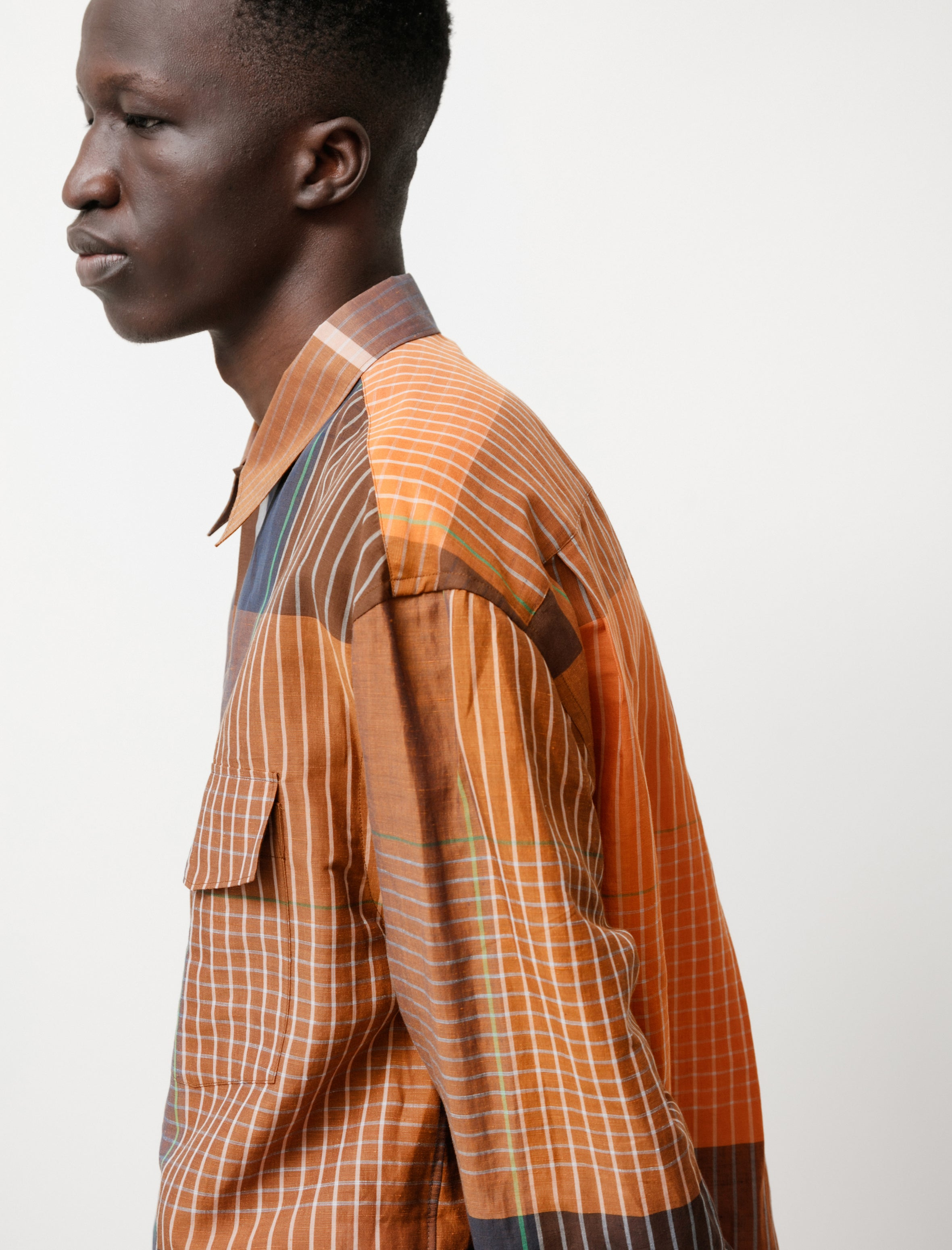 Lemaire Convertible Collar Shirt Orange/Brown