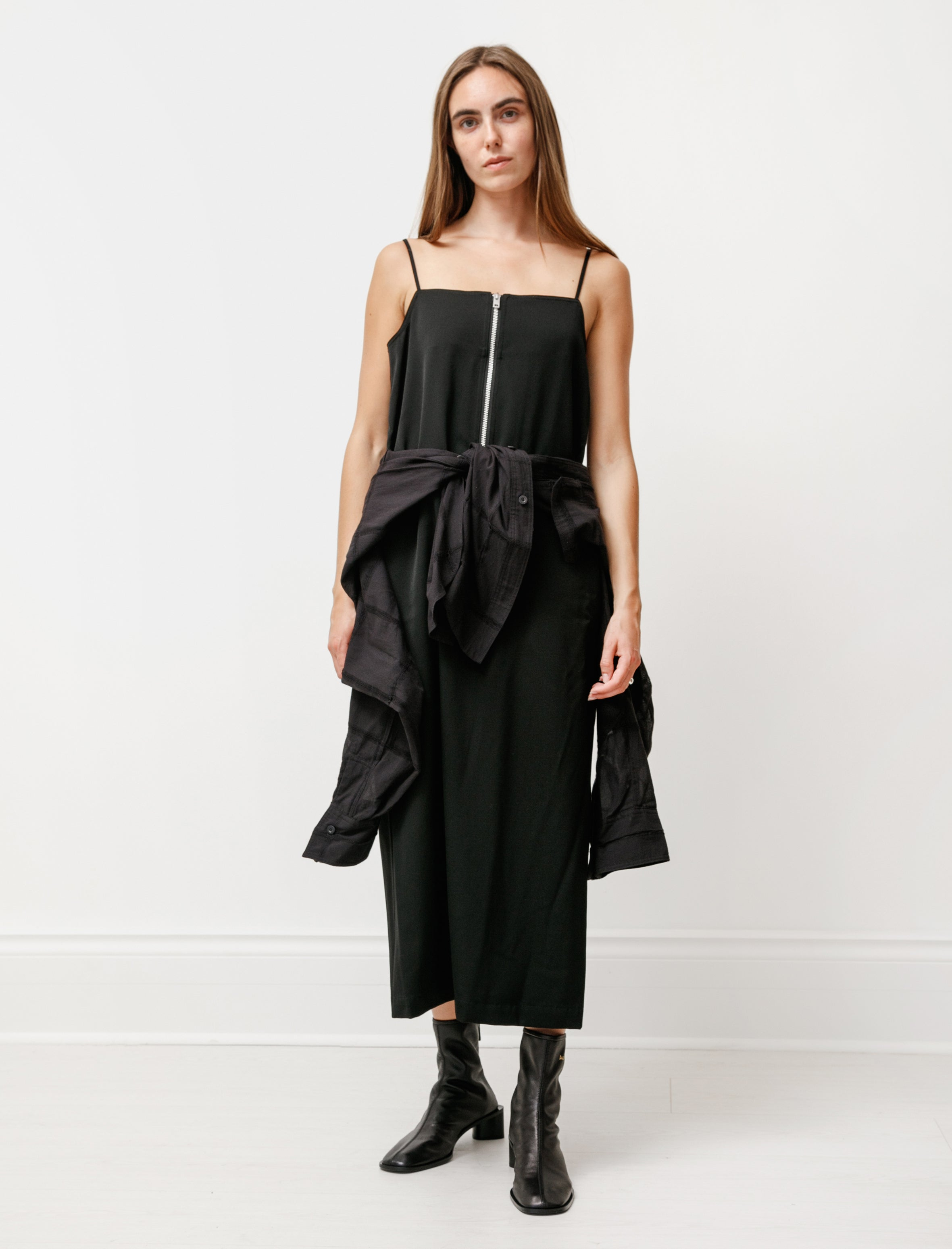 Y's by Yohji Yamamoto Layered Camisole Zip Dress Black