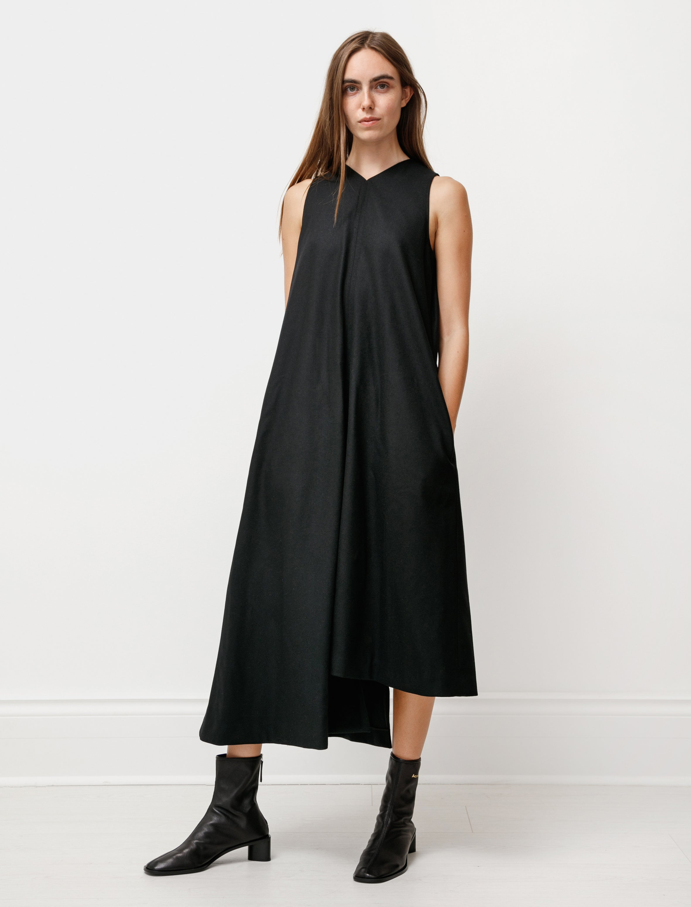 Y's by Yohji Yamamoto Asymmetrical Pressed Wool Dress Black