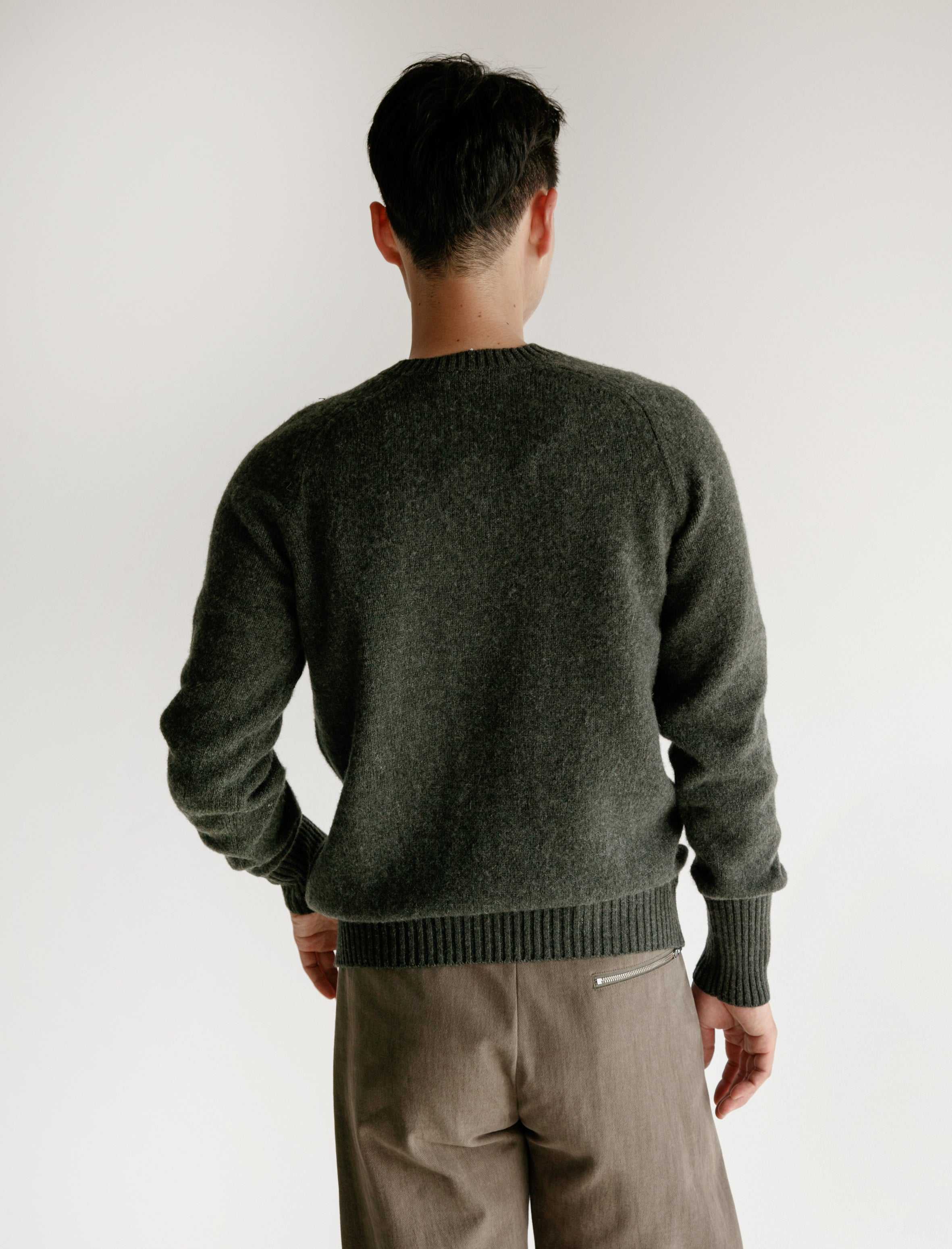 Classic Shetland Sweater with Maxi Cuffs Spruce