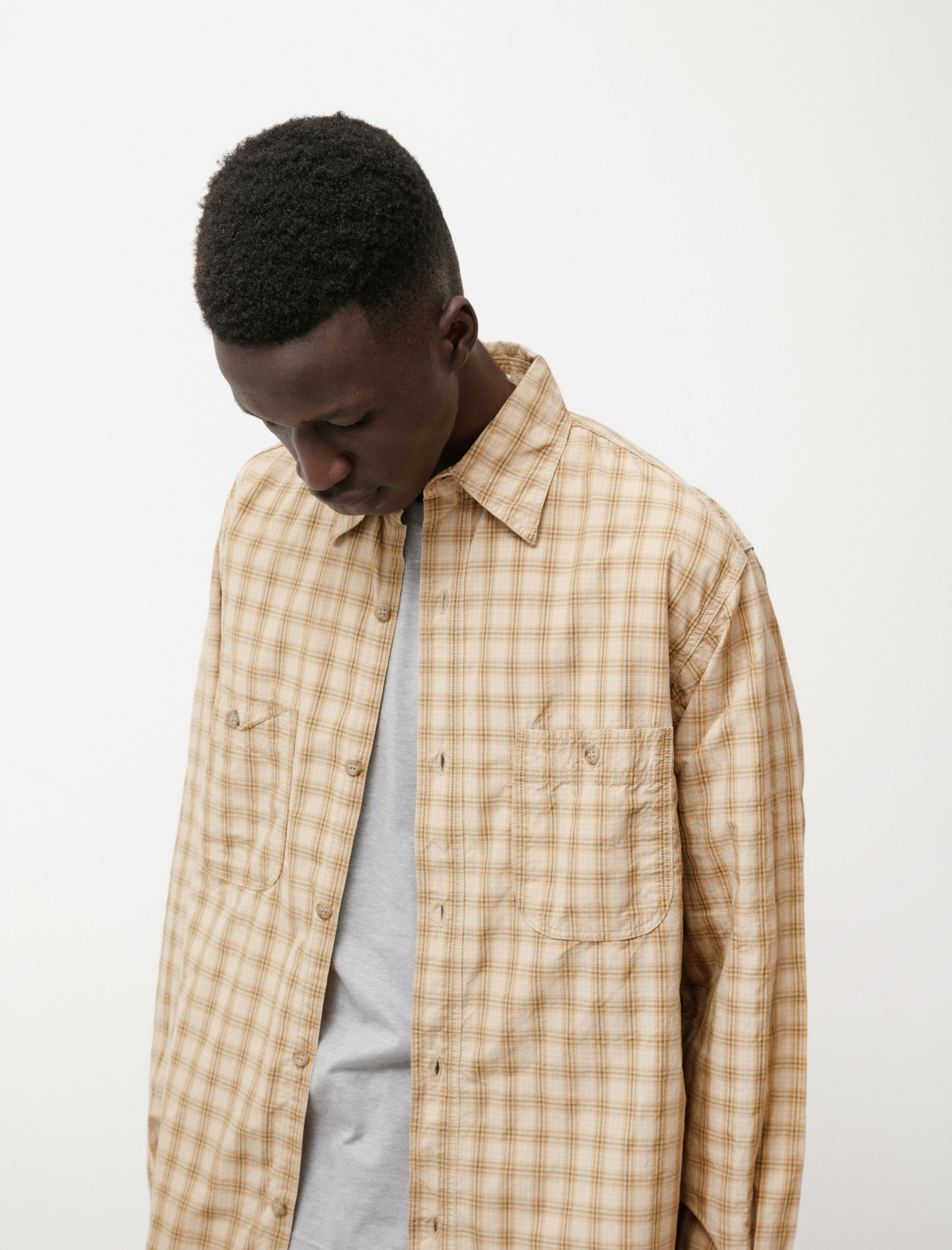 orSlow Vintage Fit Work Shirt Khaki Check