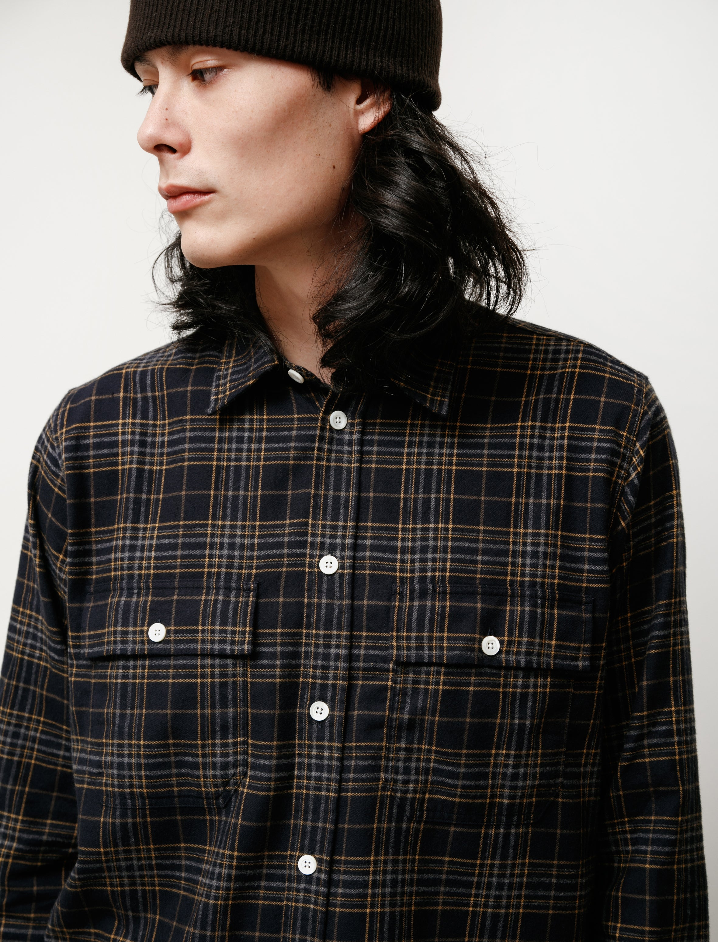 Norse Projects Villads Brushed Flannel Check Navy