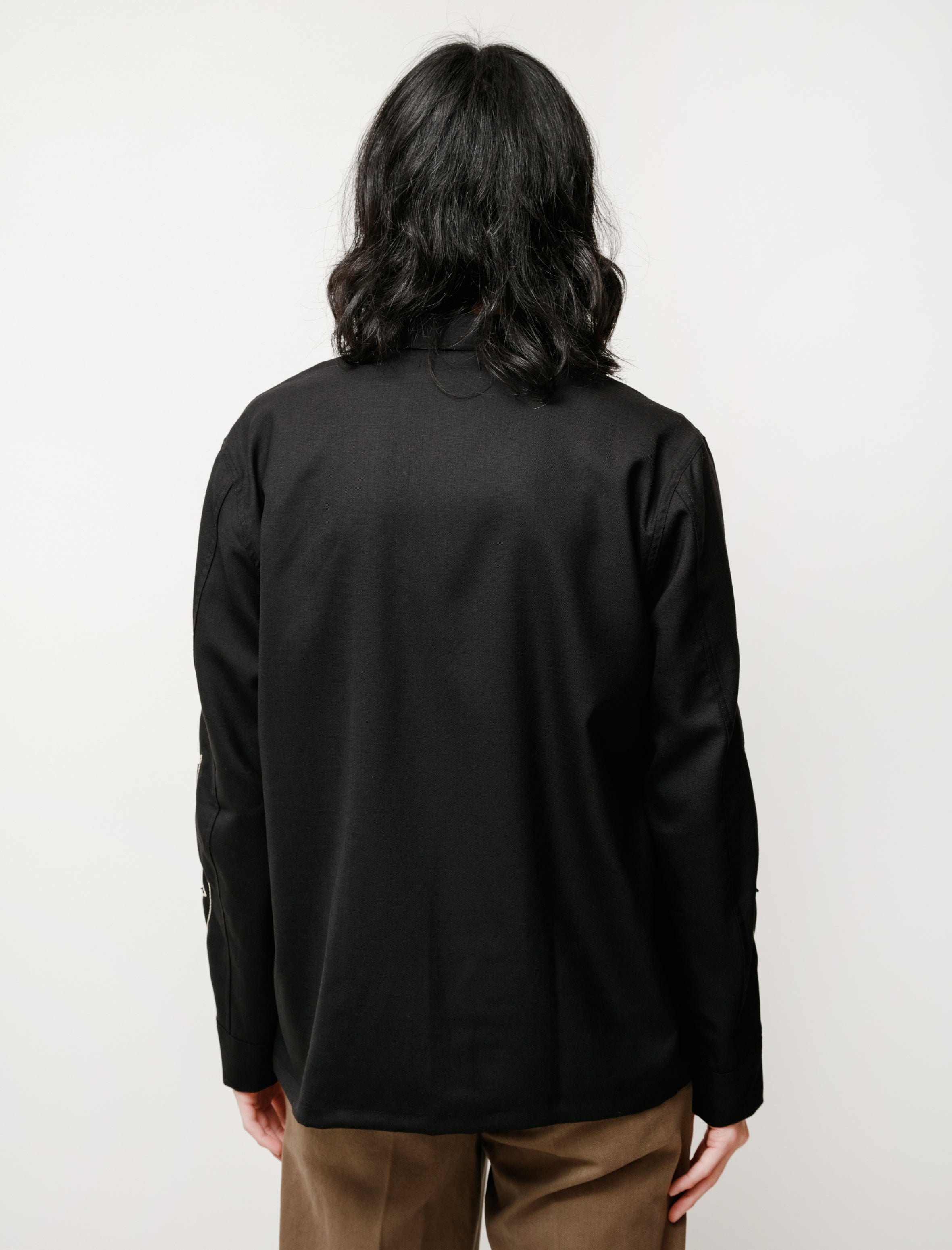 Our Legacy Box Shirt Black Leaf Embroidery