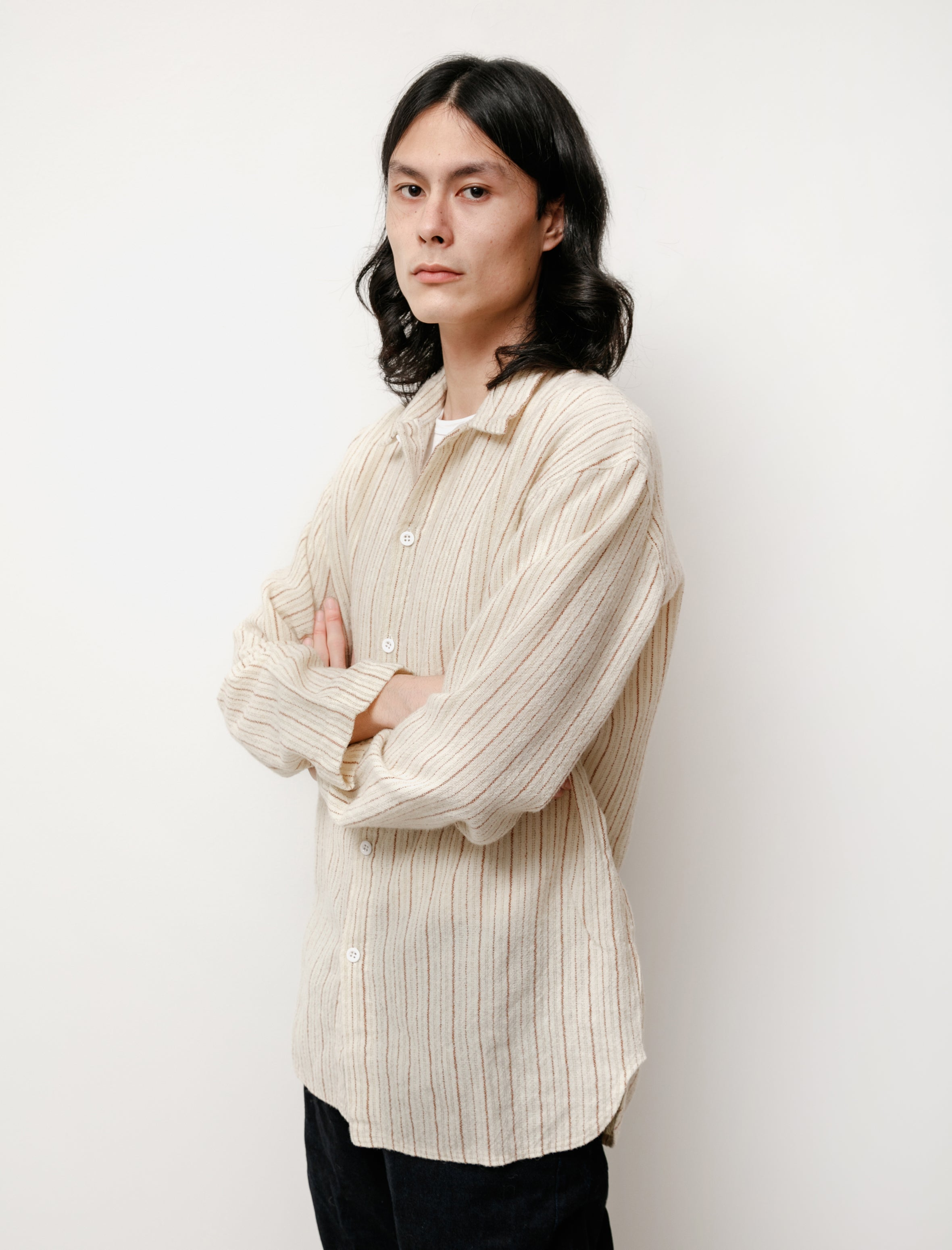 Tender WS420 Tail Shirt Wool Shawl Stripe Flannel