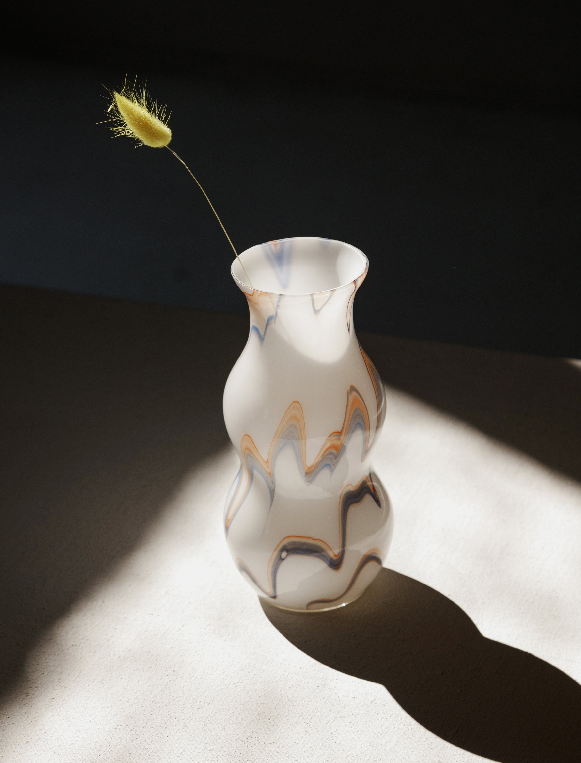 Found by Neighbour Czech Marbled Glass Vase Pale Waves