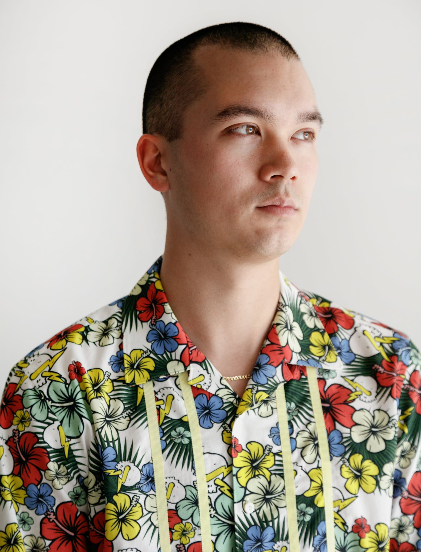 S/S Bloom Buttondown White Multi