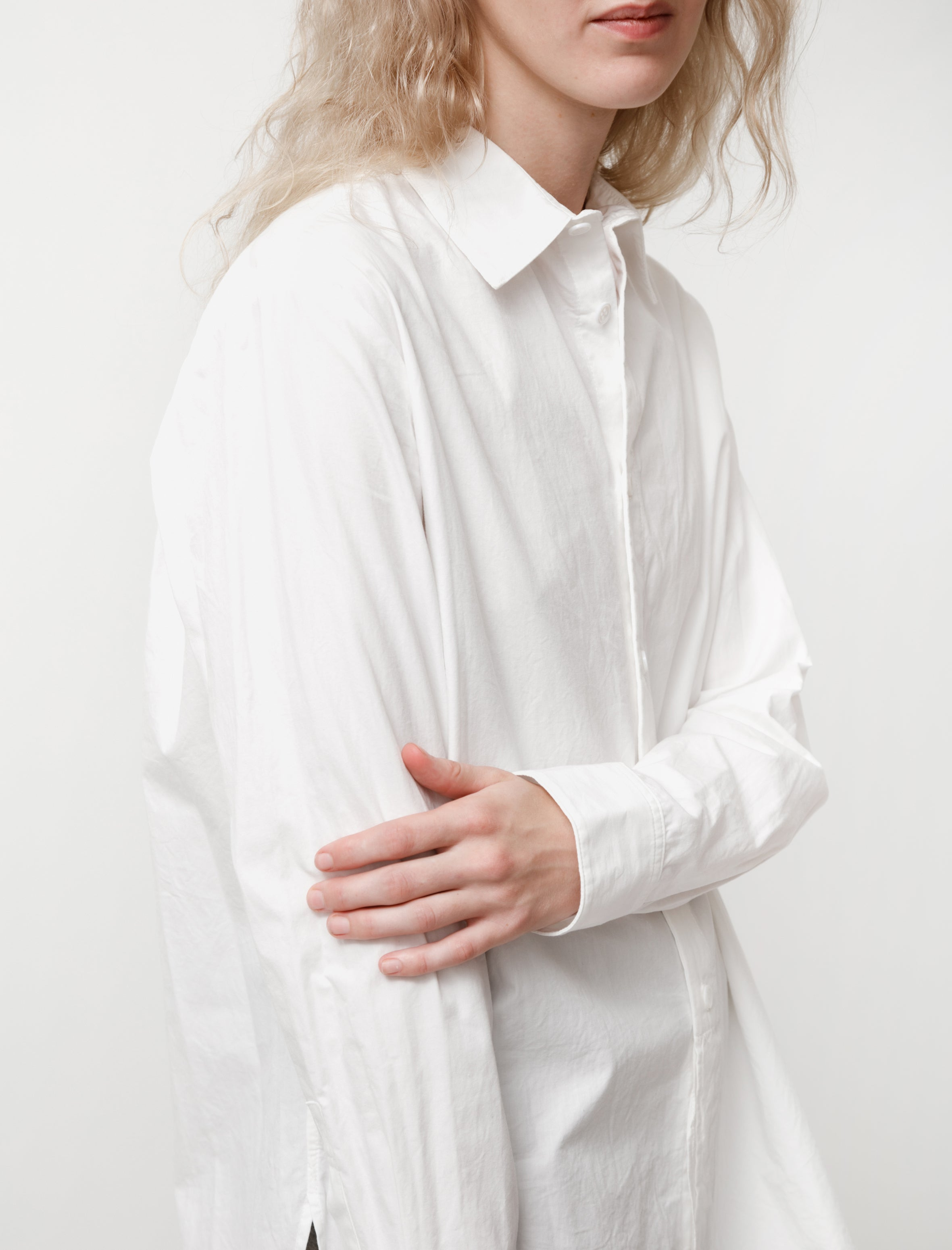 Y's by Yohji Yamamoto Cotton Cupro Layered Shirt White