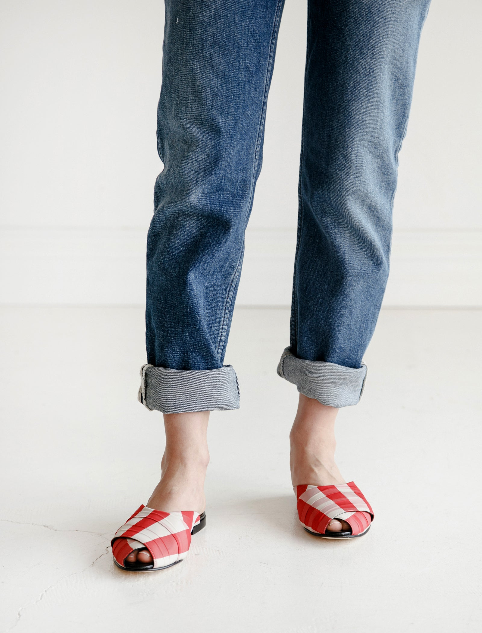 Trademark Gingham Pajama Sandal Red
