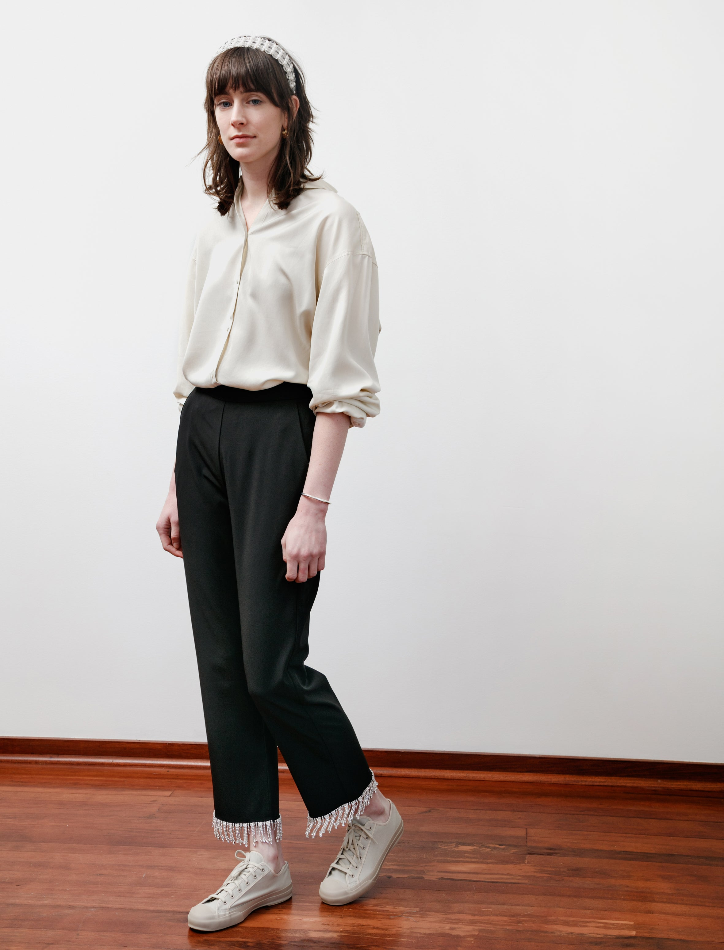 Shrimps Hank Crystal Hem Trousers Black