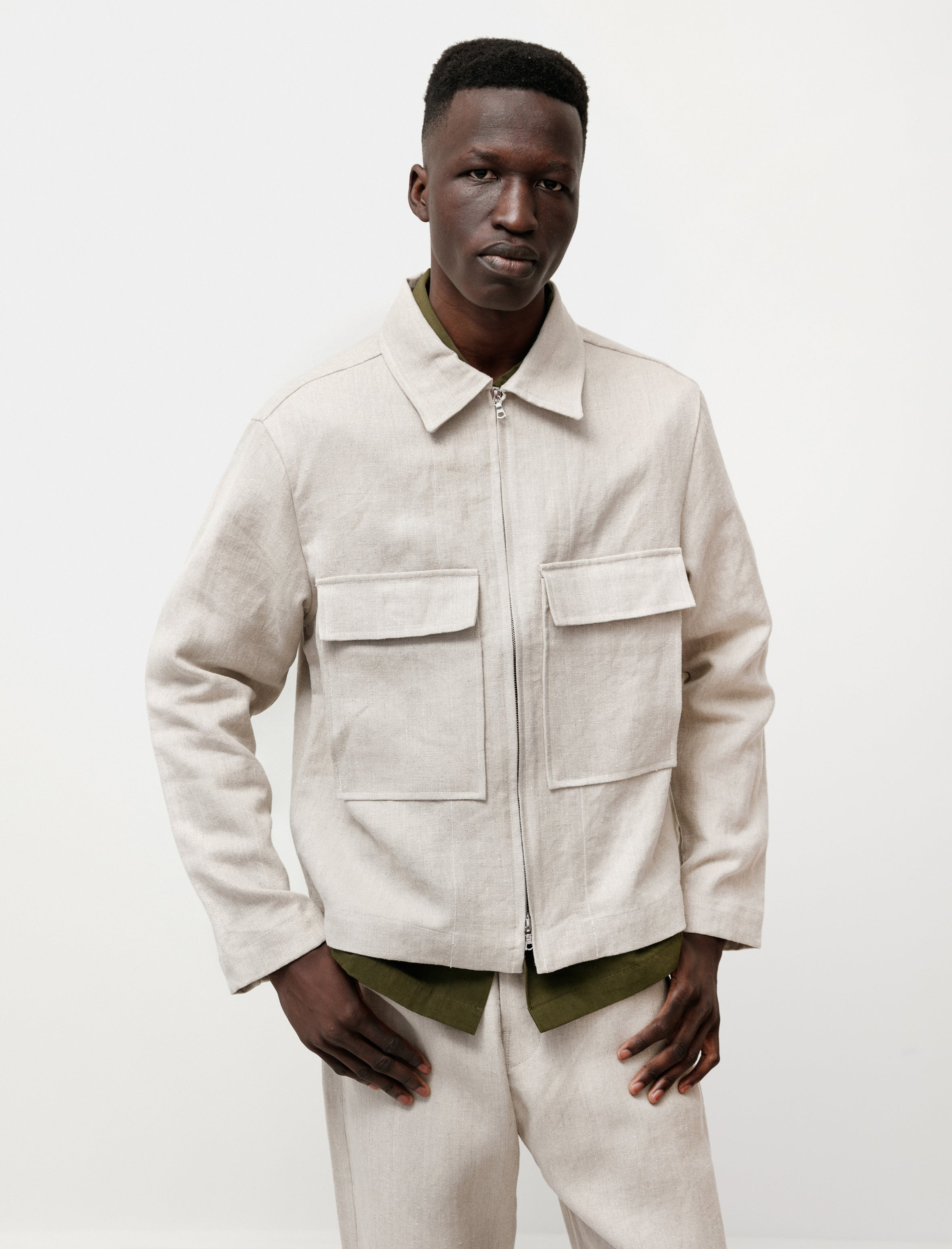 Evan Kinori Zip Jacket Tumbled Hemp Canvas