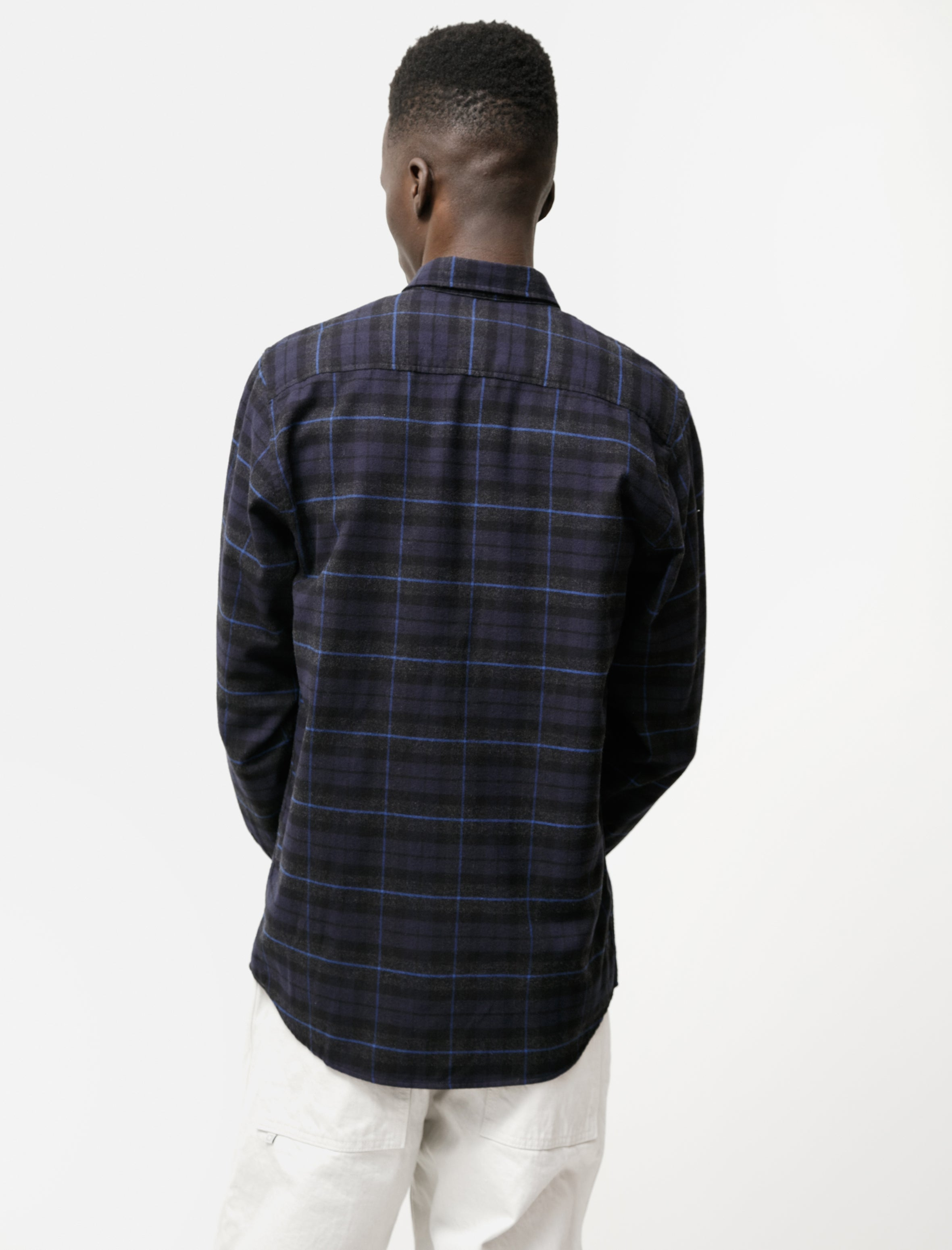 Norse Projects Anton Brushed Flannel Navy Check